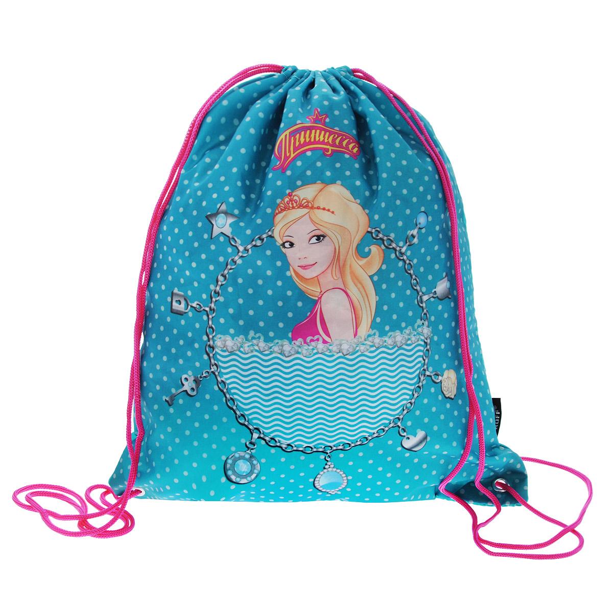 Proff Сумка для сменной обуви Принцесса цвет бирюзовый2904/TG_синийСумку Proff Принцесса удобно использовать как для хранения, так и для переноски сменной обуви. Она выполнена из прочного полиэстера и затягивается сверху текстильными шнурками. Сумка оформлена ярким изображением принцессы. Шнурки фиксируются в нижней части сумки, благодаря чему ее можно носить за спиной как рюкзак. Рекомендовано для детей старше трех лет.