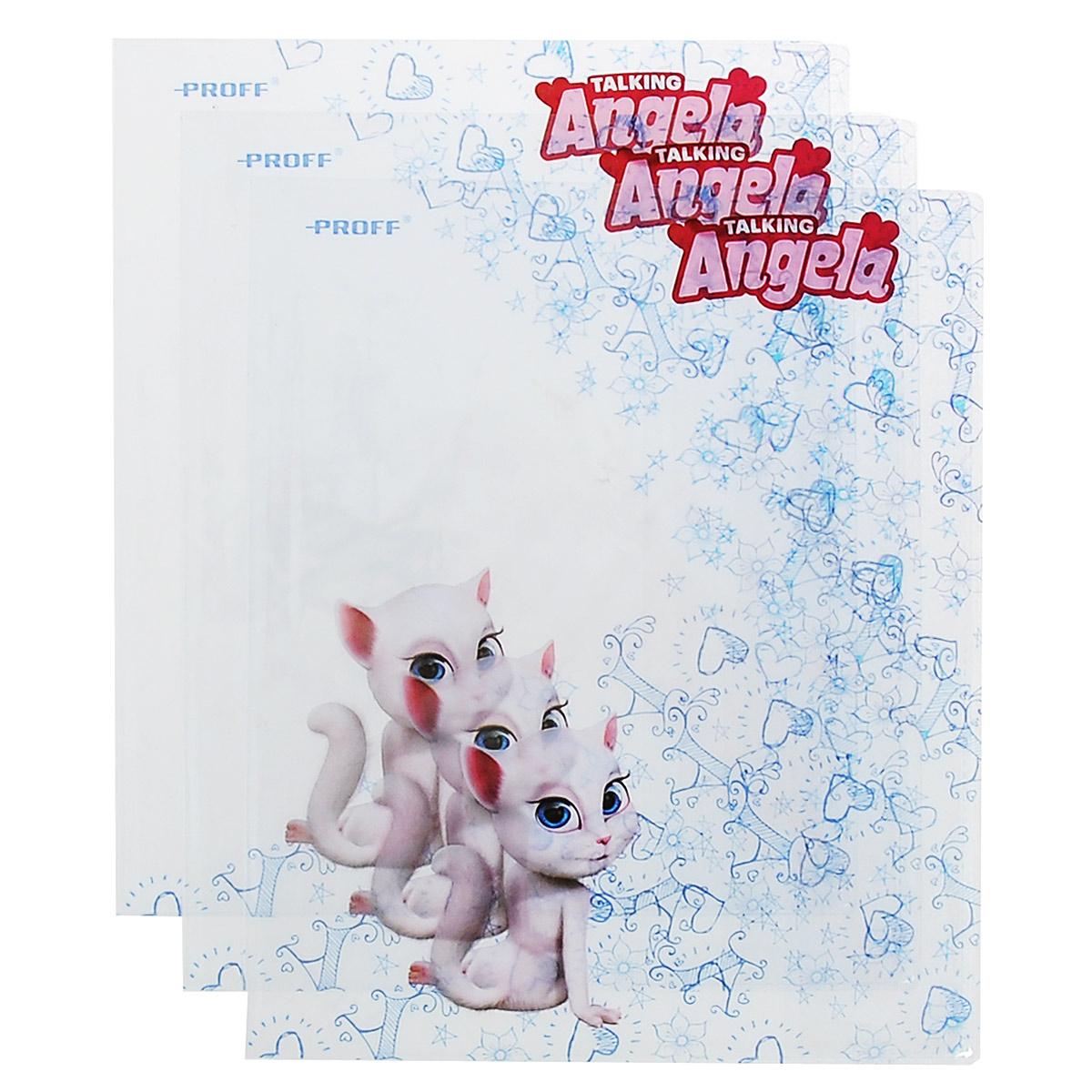 """Прозрачная обложка Proff """"Говорящая Анджела"""", изготовленная из ПВХ, защитит поверхность тетради или дневника от изнашивания и загрязнений. Изделие оформлено ярким рисунком. В набор входят 3 обложки."""
