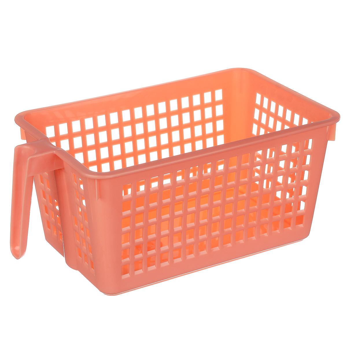 Корзинка универсальная Econova, с ручкой, цвет: коралловый, 28 х 16 х 12 смS03301004Универсальная корзинка Econova изготовлена из высококачественного пластика и предназначена для хранения и транспортировки вещей. Корзинка подойдет как для пищевых продуктов, так и для ванных принадлежностей и различных мелочей. Изделие оснащено ручкой для более удобной транспортировки. Стенки корзинки оформлены перфорацией, что обеспечивает естественную вентиляцию. Универсальная корзинка Econova позволит вам хранить вещи компактно и с удобством.
