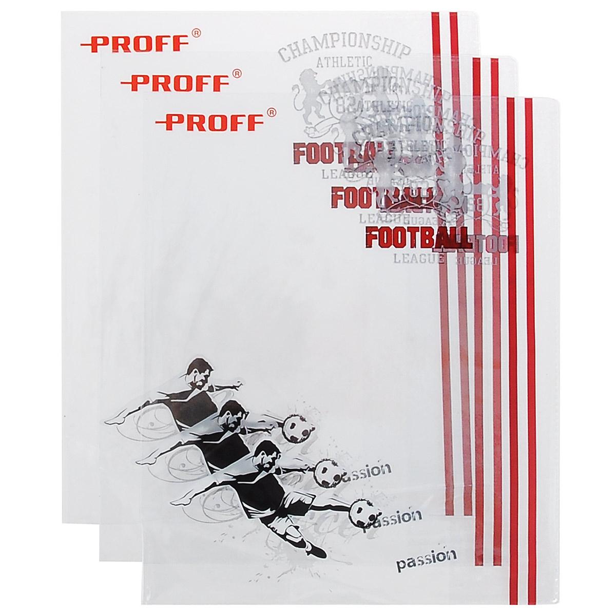 """Прозрачная обложка Proff """"Спорт"""", изготовленная из ПВХ, защитит поверхность тетради или дневника от изнашивания и загрязнений. Изделие оформлено ярким рисунком. В набор входят 3 обложки."""