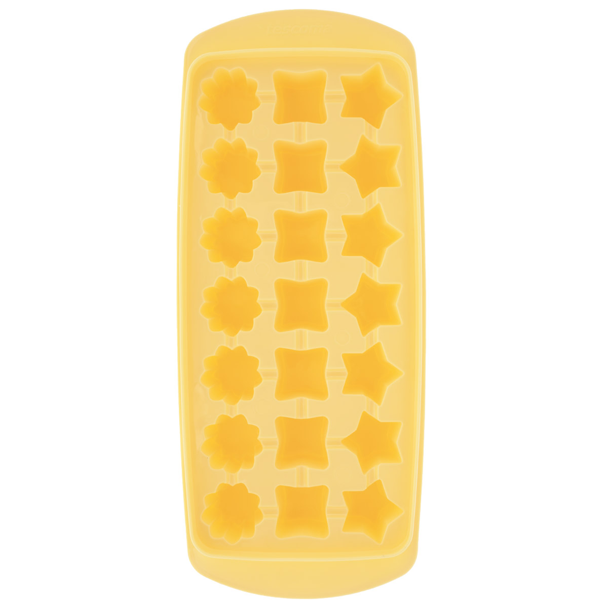 Форма для льда Tescoma Presto, цвет: желтый, 21 ячейкаVT-1520(SR)Форма для льда Tescoma Presto выполнена из прочного пластика. За один раз вы можете приготовить 21 кубик льда в форме звездочки, квадратика или цветочка. Теперь на смену традиционным квадратным пришли новые оригинальные формы для приготовления фигурного льда, которыми можно не только охладить, но и украсить любой напиток. В формочки при заморозке воды можно помещать ягодки, такие льдинки не только оживят коктейль, но и добавят радостного настроения гостям на празднике!Общий размер формы: 27 см х 11,5 см х 3 см. Средний размер ячейки: 2,5 см х 2,5 см. Количество ячеек: 21 шт.
