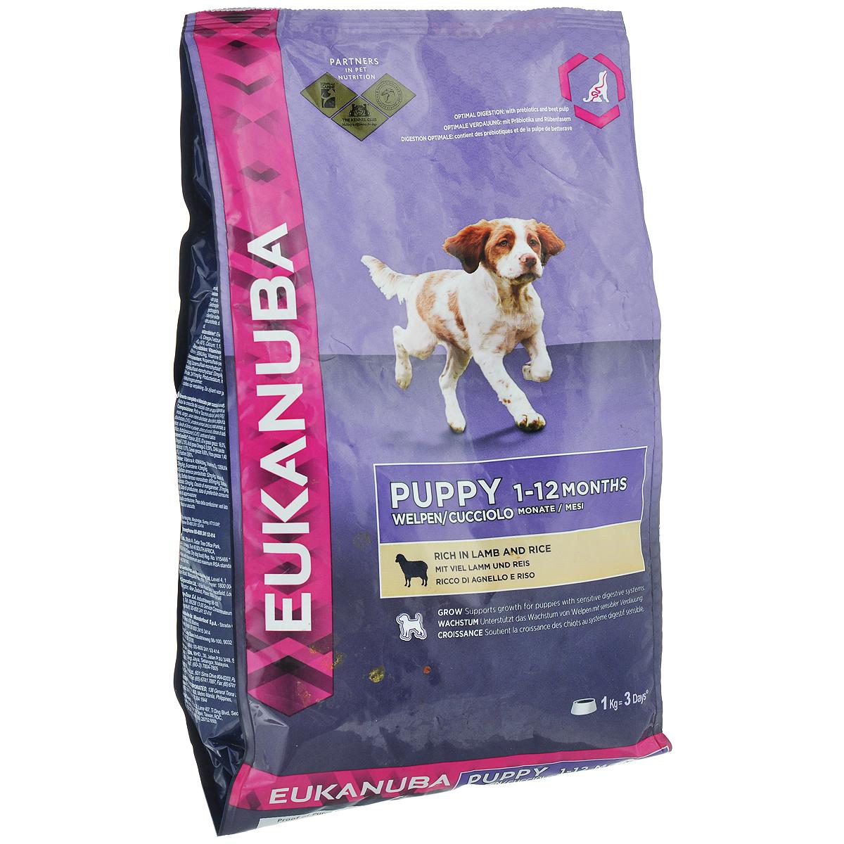 Корм сухой Eukanuba для щенков всех пород, с ягненком и рисом, 12 кг81377699Сухой корм Eukanuba является полноценным сбалансированным питанием для щенков всех пород. Корм Eukanuba заботится о здоровье вашего любимца.Особенности корма Eukanuba:- благодаря большому содержанию мяса ягненка содействует построению и сохранению мускулатуры для наилучшей физической формы;- важный антиоксидант поддерживает естественную защиту организма вашего щенка;- пребиотики и пульпа сахарной свеклы способствуют поддержанию здорового пищеварения путем обеспечения нормального функционирования кишечника; - оптимальное соотношение омега-6 и омега-3 жирных кислот помогает укреплять здоровье кожи и шерсти; - кальций способствует укреплению костей; - животные белки способствуют укреплению и поддержанию тонуса мышц;- ДГК стимулирует познавательность и обучаемость щенков.Сухой корм Eukanuba содержит только натуральные компоненты, которые необходимы для полноценного и здорового питания домашних животных. Корма от фирмы Eukanuba положительно зарекомендовали себя на российском рынке еще и потому, что они не содержат никаких красителей и ароматизаторов, а сбалансированное содержание всех необходимых витаминов и минералов избавляет вас от необходимости давать вашему любимцу дополнительные добавки к пище.Характеристики: Состав: сублимированное мясо курицы и индейки, мясо ягненка 14%, рис 14%, кукуруза, сорго, сухое цельное яйцо, рыбная мука, сушеная свекольная масса 2,6%, животный жир, гидролизат белка животного происхождения, сухие пивные дрожжи, рыбий жир, хлорид калия, поваренная соль, кальция гидрогенфосфат, фруктоолигосахариды 0,26%, карбонат кальция.Пищевая ценность: протеин 28%, жир 16%, жирные кислоты Омега-6 2,19%, жирные кислоты Омега-3 0,47%, DHA 0,17%, влажность 8%, минералы 6,6%, клетчатка 1,4%, кальций 1,4%, фосфор 0,9%.Добавки на 1 кг: витамин А 40964 МЕ, витамин Д3 1359 МЕ, витамин Е 228 мг, бета-каротин 4,5 мг, моногидрат основного карбоната кобальта 0,55 мг, пентагидрат сульфата меди