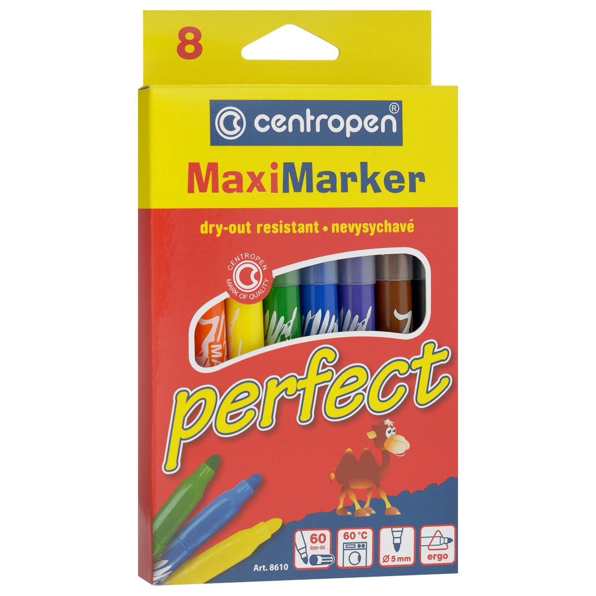 Фломастеры Centropen Perfect, устойчивые к высыханию, 8 цветовFS-36052Фломастеры Centropen Perfect - идеальный инструмент для творчества маленького художника!Корпусы фломастеров выполнены из прочного пластика соответствующих цветов.Фломастеры имеют яркие насыщенными цветами и легко ложатся на бумагу. Вентилируемые колпачки фломастеров снабжены специальными отверстиями. Фломастеры устойчивы к высыханию, а корпус увеличенного размера обеспечит удобство при рисовании. Всего в наборе 8 фломастеров желтого, оранжевого, синего, зеленого, красного, фиолетового и черного цветов. Рисование знакомит ребенка с цветами и формами, и положительно влияет на настроение детей. Кроме того, оно развивает мелкую моторику, воображение и творческое мышление.