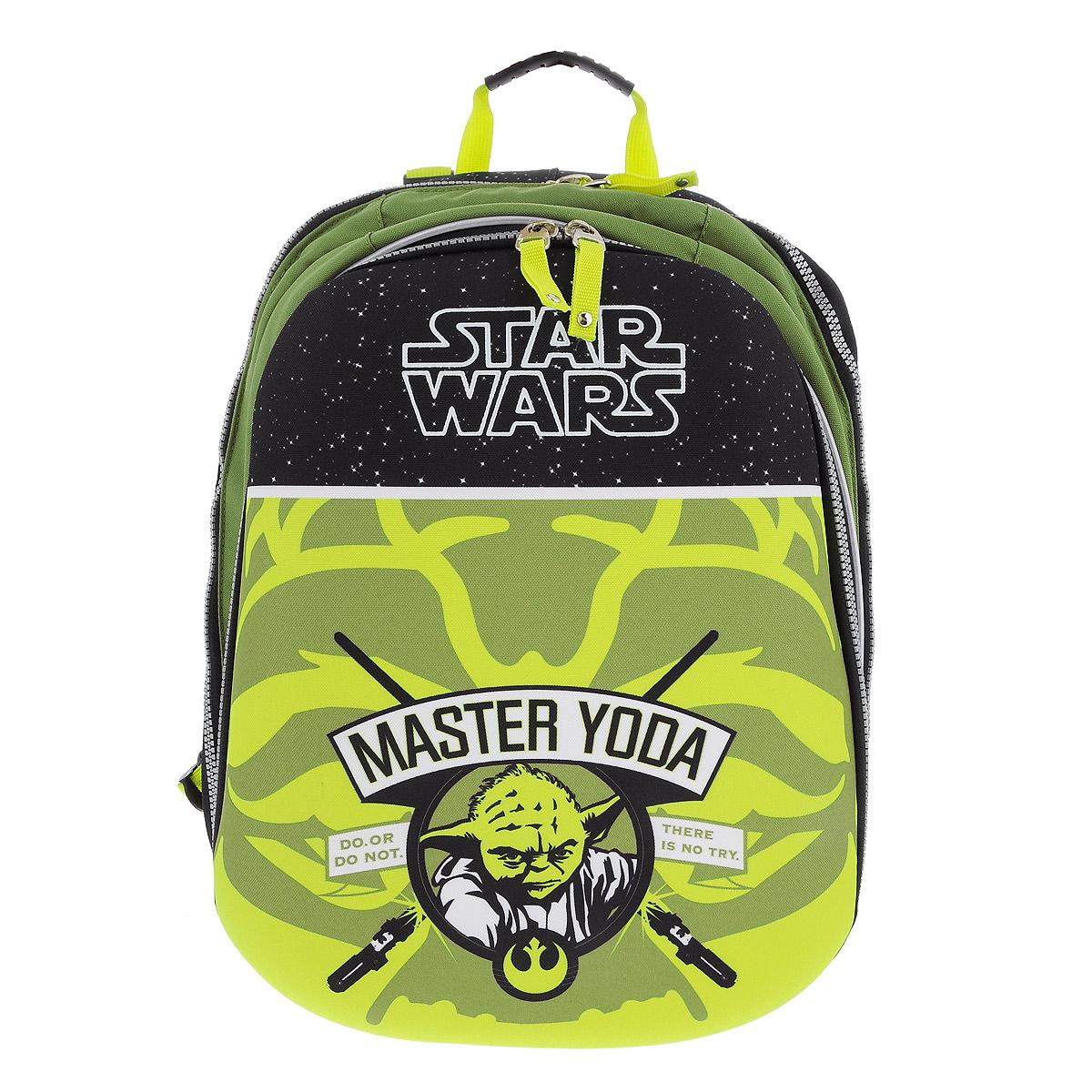 Рюкзак Star Wars Master Yoda, цвет: зеленый, черный. 37474_Master YodaММ-517-2/2Рюкзак Star Wars Master Yodaбудет отличным подарком поклонникам вселенной Star Wars! Рюкзак выполнен из полиэстера зеленого и черного цветов и оформлен оригинальным рисунком с изображением Мастера Йоды. Рюкзак оснащен одним основным отделением, закрывающимся на застежку-молнию. На внешней стороне расположен вместительный накладной карман на застежке-молнии, содержащий шесть накладных кармашков, а также два кармашка для ручек и карандашей. Рюкзак оснащен мягкими плечевыми лямками, мягкой спинкой с сетчатой поверхностью и текстильной ручкой для удобной переноски.