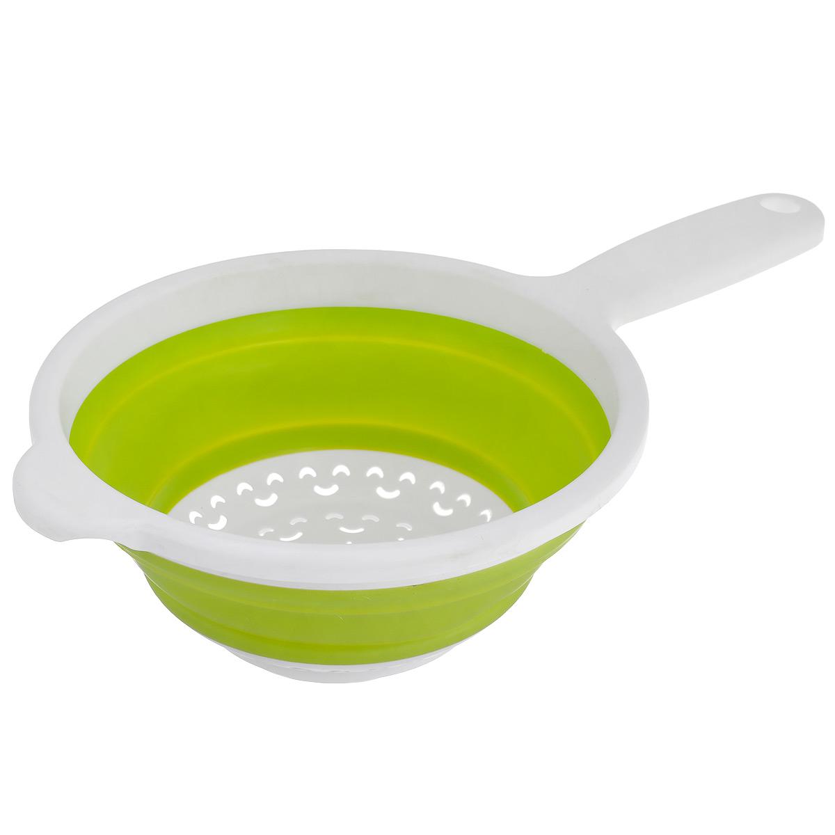 Дуршлаг складной Neo Way, цвет: белый, салатовый, диаметр 20 см9046_белый, салатовыйСкладной дуршлаг Neo Way станет полезным приобретением для вашей кухни. Он изготовлен из высококачественного пищевого силикона и пластика. Дуршлаг оснащен удобной эргономичной ручкой со специальным отверстием для подвешивания. Изделие прекрасно подходит для процеживания, ополаскивания и стекания макарон, овощей, фруктов. Дуршлаг компактно складывается, что делает его удобным для хранения.Можно мыть в посудомоечной машине.Диаметр (по верхнему краю): 20 см.Максимальная высота: 8,5 см.Минимальная высота: 3 см.