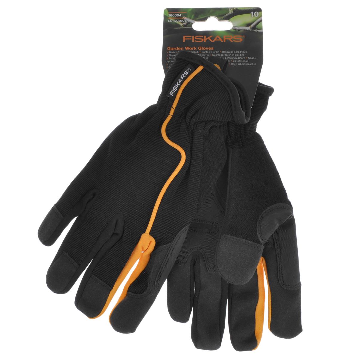 Перчатки садовые Fiskars, цвет: черный, оранжевый. Размер 10VCA-00Перчатки Fiskars изготовлены из текстиля с вставками искусственной замши и резины. Они предназначены для защиты рук от повреждений. Перчатки не сковывают движения кистей рук и обеспечивают доступ воздуха. На ладонях имеется противоскользящие вставки для надежного захвата. Манжеты на резинке плотно обхватывают запястья. Мягкие перчатки удобно сидят по руке, не соскальзывая и не отвлекая от работы.