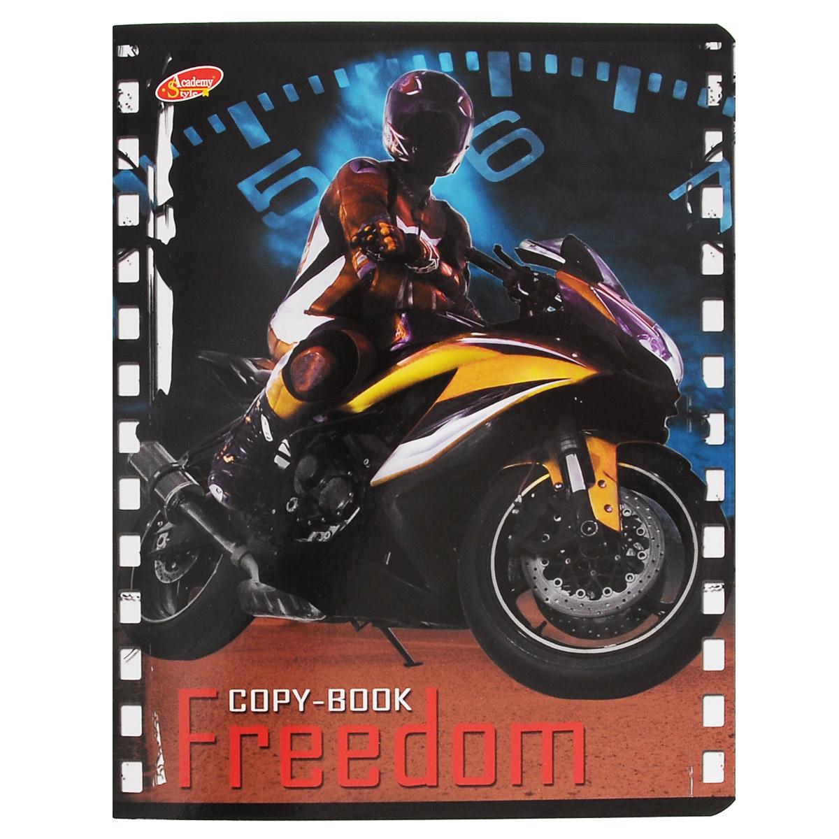 Тетрадь Freedom Мотоцикл, 80 листов, формат А5, цвет: желтый125045Тетрадь в клетку Freedom Мотоцикл с красочным изображением мотоцикла на обложке подойдет как студенту, так и школьнику. Обложка тетради с закругленными углами выполнена из картона. Внутренний блок состоит из 80 листов белой бумаги. Стандартная линовка в клетку дополнена полями, совпадающими с лицевой и оборотной стороны листа.