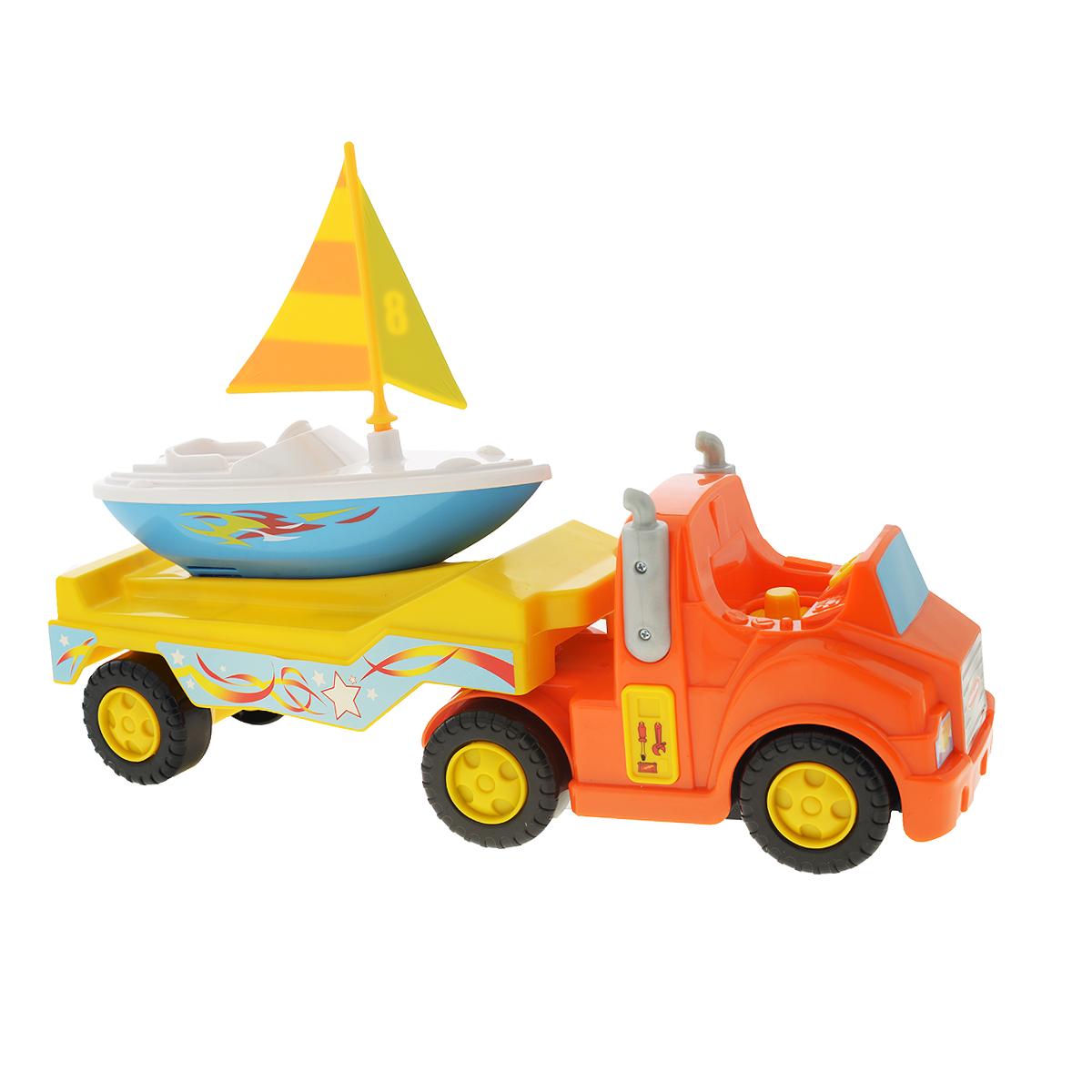 Kiddieland Развивающая игрушка Трейлер с яхтой kiddieland развивающая игрушка забавная камера