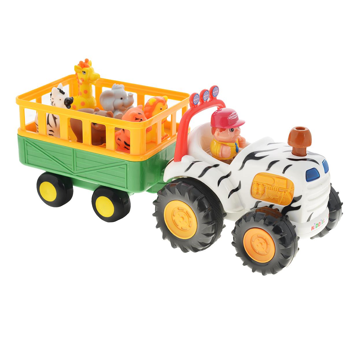 """Яркая музыкальная игрушка на колесах Kiddieland """"Сафари"""", озвученная на русском языке, развлечет малыша мигающими огоньками, приятной музыкой и забавными звуками. При нажатии на трубу трактор едет вперед, при этом звучат реалистичные звуки мотора, тормозов или веселые стишки. В прицепе трактора находятся 5 фигурок диких животных. Фигурки необходимо правильно расставить по своим местам, тогда при нажатии они издают соответствующие реалистичные звуки, читают стишки, а водитель поет песенку. Фигурки зверей (тигр, лев, слон, жираф, зебра, медведь) и водителя легко снимаются, и малыш может играть с ними отдельно. Отправляйтесь в веселую и познавательную поездку! Упаковка презентационно-открытая. Питание: 4 батареи АА (входят в комплект). Размер игрушки: 37 х 13,5 х 17,5 см."""