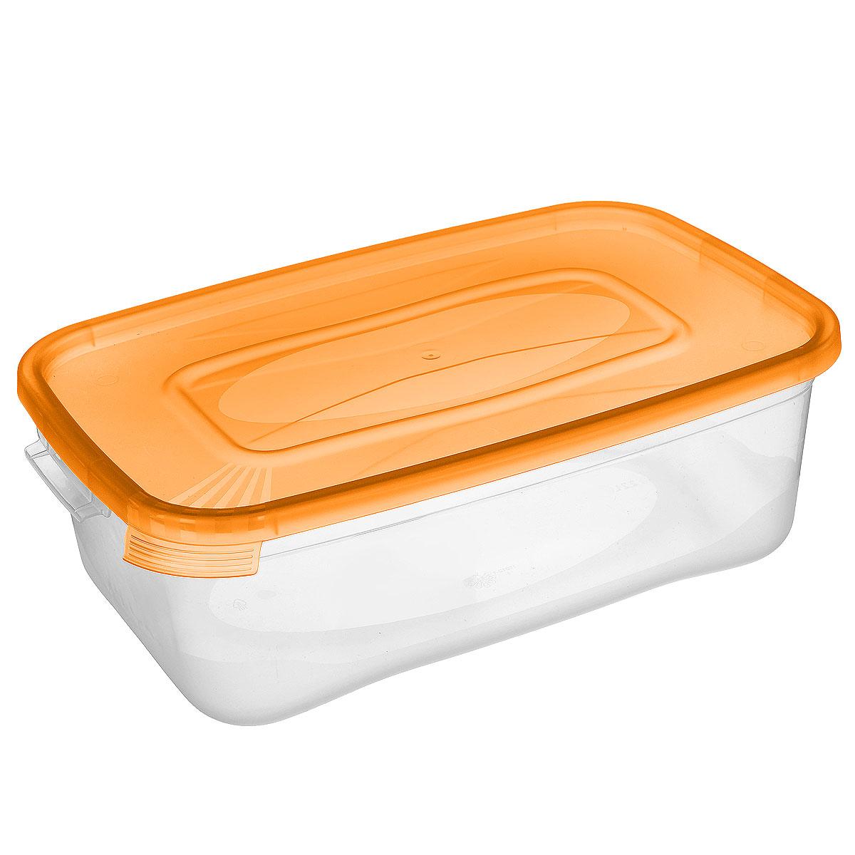 Контейнер Полимербыт Каскад, цвет: прозрачный, оранжевый, 1,2 лVT-1520(SR)Контейнер Полимербыт Каскад прямоугольной формы, изготовленный из прочного пластика, предназначен специально для хранения пищевых продуктов. Крышка легко открывается и плотно закрывается.Контейнер устойчив к воздействию масел и жиров, легко моется. Прозрачные стенки позволяют видеть содержимое. Контейнер имеет возможность хранения продуктов глубокой заморозки, обладает высокой прочностью.Подходит для использования в микроволновых печах. Можно мыть в посудомоечной машине.