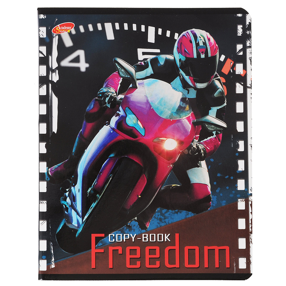 Тетрадь Freedom Мотоцикл, 80 листов, формат А5, цвет: розовый48Т4вмB3Тетрадь в клетку Freedom Мотоцикл с красочным изображением мотоцикла на обложке подойдет как студенту, так и школьнику. Обложка тетради с закругленными углами выполнена из картона. Внутренний блок состоит из 80 листов белой бумаги. Стандартная линовка в клетку дополнена полями, совпадающими с лицевой и оборотной стороны листа.