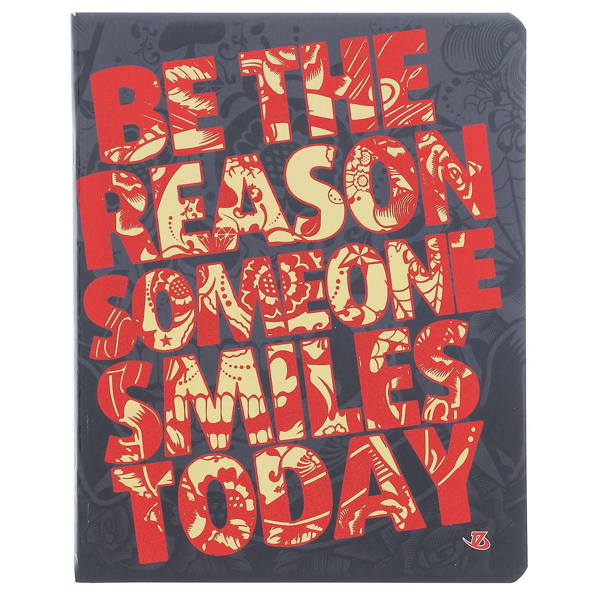 Тетрадь Be the reason someone smiles today, 60 листов, формат А5, цвет: красный72523WDТетрадь в клетку Be the reason someone smiles today подойдет как студенту, так и школьнику. Обложка тетради с закругленными углами выполнена из картона. Надпись Be the reason someone smiles today нанесена на обложку с элементами тиснения фольгой красного цвета. Внутренний блок состоит из 60 листов офсетной бумаги, способ крепления - скрепка. Линовка листов стандартная - в клетку. Внутри содержатся страничка для заполнения личных данных.