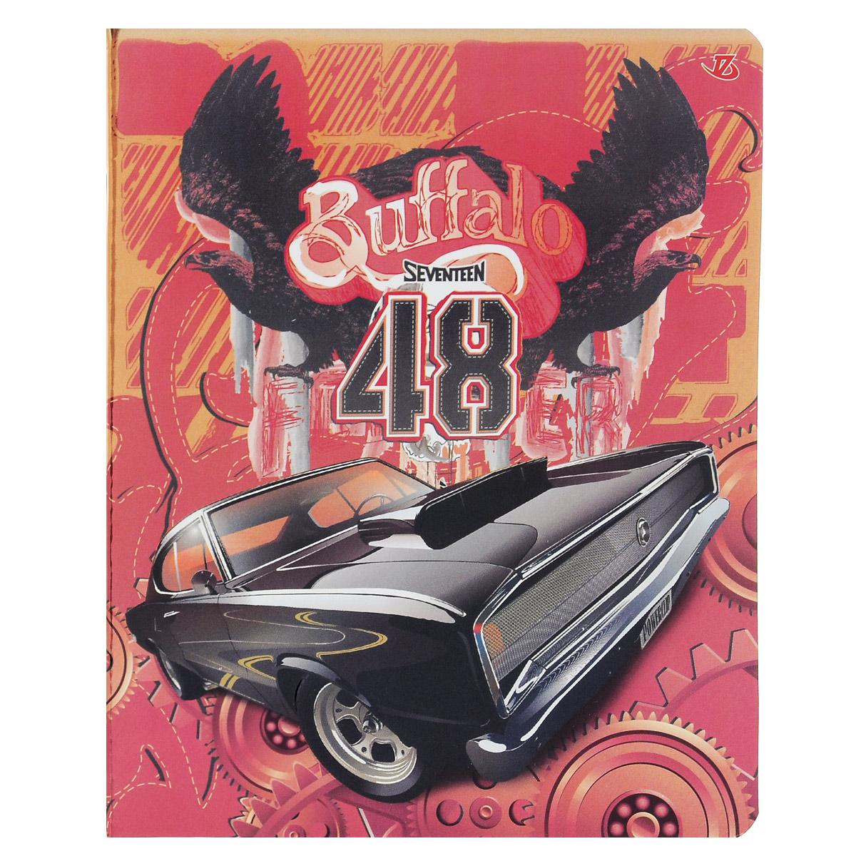 Тетрадь Seventeen Buffalo 48, цвет: красный, черный, 48 листов72523WDТетрадь Seventeen Buffalo 48 прекрасно подойдет как студенту, так и школьнику.Обложка тетради с фактурным изображением черного автомобиля выполнена из мелованного картона с закругленными углами.Внутренний блок тетради состоит из 48 листов высококачественной бумаги повышенной белизны. Стандартная линовка в клетку дополнена полями, совпадающими с лицевой и оборотной стороны листа. Первая страничка содержит поля для заполнения личных данных.