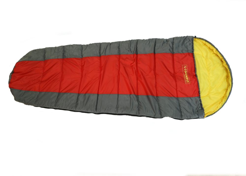 Спальный мешок-кокон Columbus 200, левосторонняяя молния, цвет: серый, красный, желтый70369Спальный мешок Columbus 200 - незаменимая вещь для любителей уюта и комфорта во время активного отдыха. Этот теплый спальный мешок спасет вас от холода во время туристического похода, поездки на рыбалку даже в межсезонье.