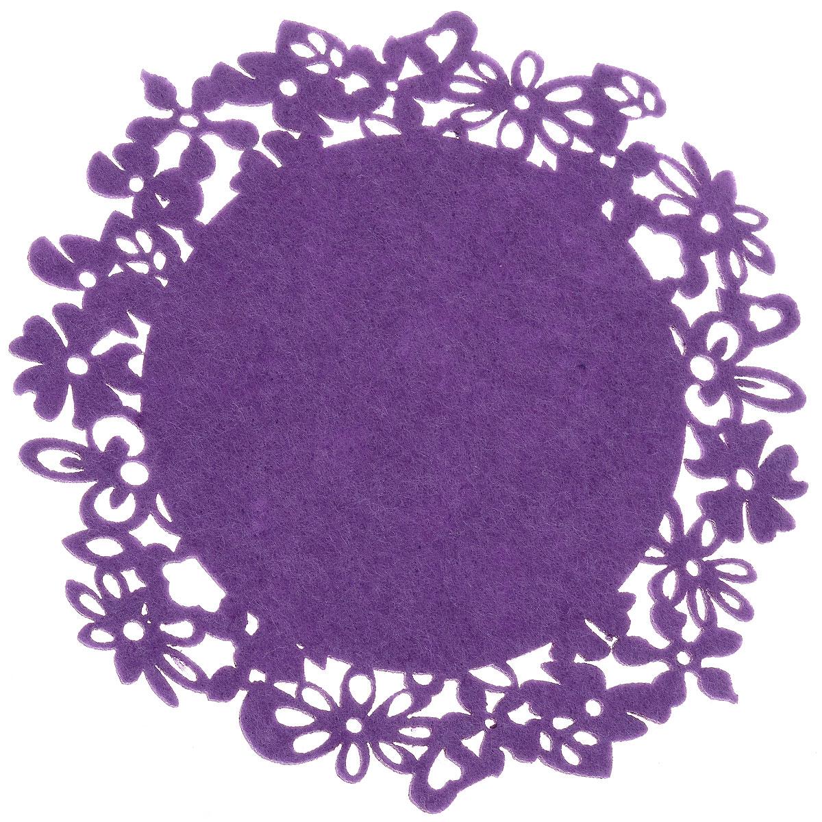 Салфетка-подставка под горячее Orange Цветы, цвет: сиреневый, диаметр 19,5 см115510Круглая салфетка-подставка под горячее Orange Цветы изготовлена из фетра и оформлена изысканной перфорацией в виде цветов. Такая салфетка прекрасно подойдет для украшения интерьера кухни, она сбережет стол от высоких температур и грязи.Диаметр: 19,5 см.