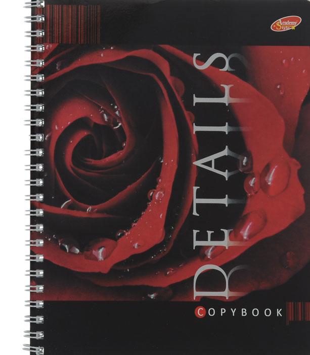 Тетрадь Details Красная роза, 80 листов, формат А5, цвет: черный, красный72523WDТетрадь в клетку Details Красная роза с красочным изображением розы на обложке подойдет как студенту, так и школьнику. Обложка тетради с закругленными углами выполнена из картона с нанесением металлической пленки. Внутренний блок состоит из 80 листов белой бумаги на гребне. Разметка страниц - в клетку.