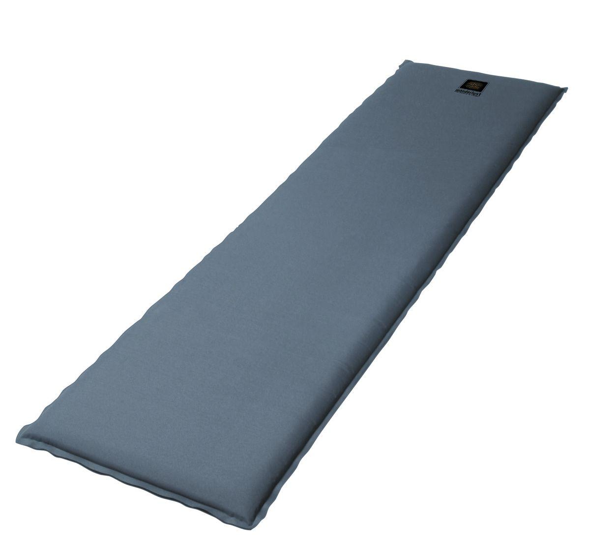 Коврик самонадувающийся Wanderlust Selfi M 38, цвет: серый, черный, 183 см х 51 см х 3,8 см915727Самонадувающийся туристический коврик Wanderlust Selfi M 38 предназначен для теплоизоляции, например, между почвой и телом лежащего человека, а также для предохранения спального мешка от повреждений и влаги. Очень простой в использовании, легко и быстро надувается, компактный и легкий. Для того, чтобы надуть коврик, просто откройте клапан, через пару минут коврик расправится и закройте клапан. Коврик готов к использованию! Он не даст вам замерзнуть и сделает отдых более комфортным даже на корнях или на камнях. Увеличенная толщина дает дополнительный комфорт. Изделие отличается прочностью и износостойкостью.Особенности коврика:Удобно надувается и для этого не требуется ваших усилий.Идеальное решение для использования в качестве напольного коврика, подстилки под спальный мешок или спального коврика гостей.Благодаря толстой прослойке из воздуха и пенистого материала коврик прекрасно защищает от сырости и холода, исходящего от земли или пола.Высокий комфорт на любой поверхности.Износостойкий и моющийся наружный материал, обладающий противоскользящими свойствами.Полная склейка.