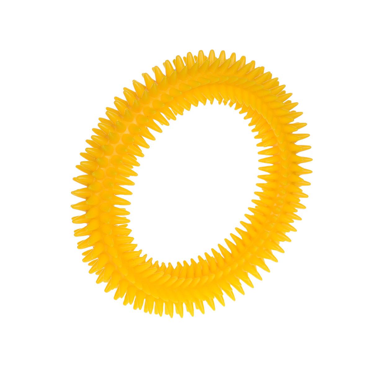 Кольцо массажное с шипами V.I.Pet, цвет: желтый, диаметр 12 см0120710Массажное кольцо с шипами V.I.Pet предназначено для собак. Прочная игрушка выполнена из пластика с использованием только безопасных, не токсичных красителей. Отлично подходит для игры с собакой, во время которой будет происходить массаж и укрепление десен вашего питомца. Как и в случае с любой другой игрушкой для животных, присматривайте за собакой во время игры. Диаметр: 16 см.Товар сертифицирован.