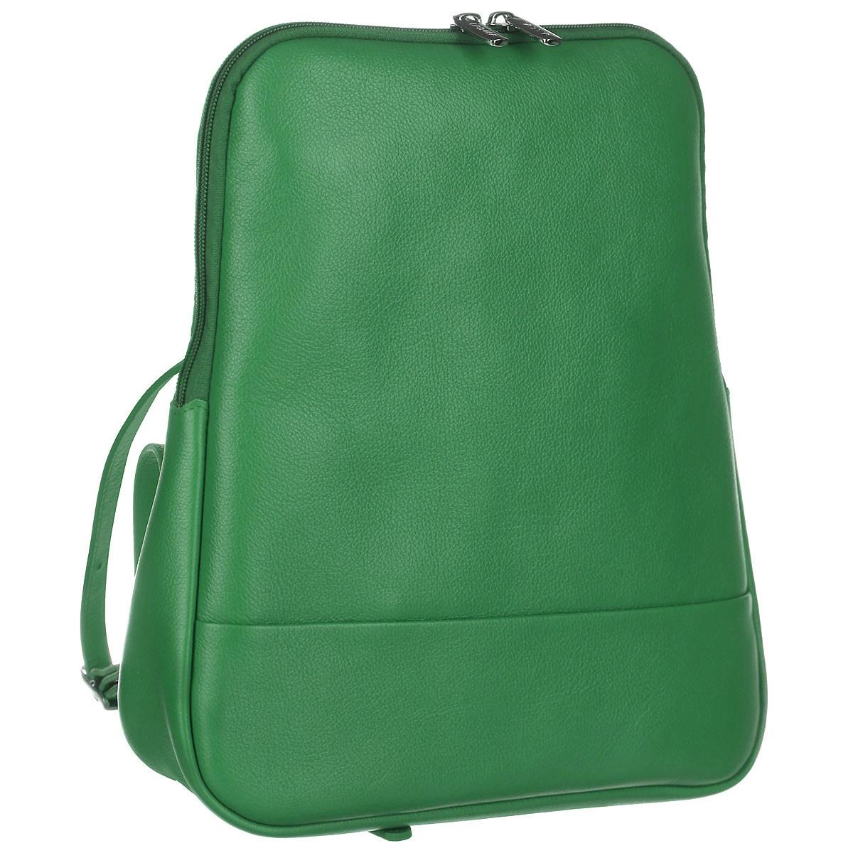 Рюкзак женский Fabula, цвет: зеленый. S.141.FPS76245Стильный женский рюкзак Fabula из коллекции Every day выполнен из натуральной кожи и оформлен фактурным тиснением. Закрывается на молнию. Изделие содержит одно основное отделение, закрывающееся на застежку-молнию. Внутри - врезной карман на молнии, два накладных кармашка для мобильного телефона и мелочей. На внешней оборотной стороне два регулируемых за счет пряжек плечевых ремня.Рюкзак упакован в фирменный пакет.Оригинальный рюкзак станет незаменимым спутником в маленьком путешествии, поможет вам подчеркнуть свою индивидуальность и сделает ваш образ изысканным и завершенным.