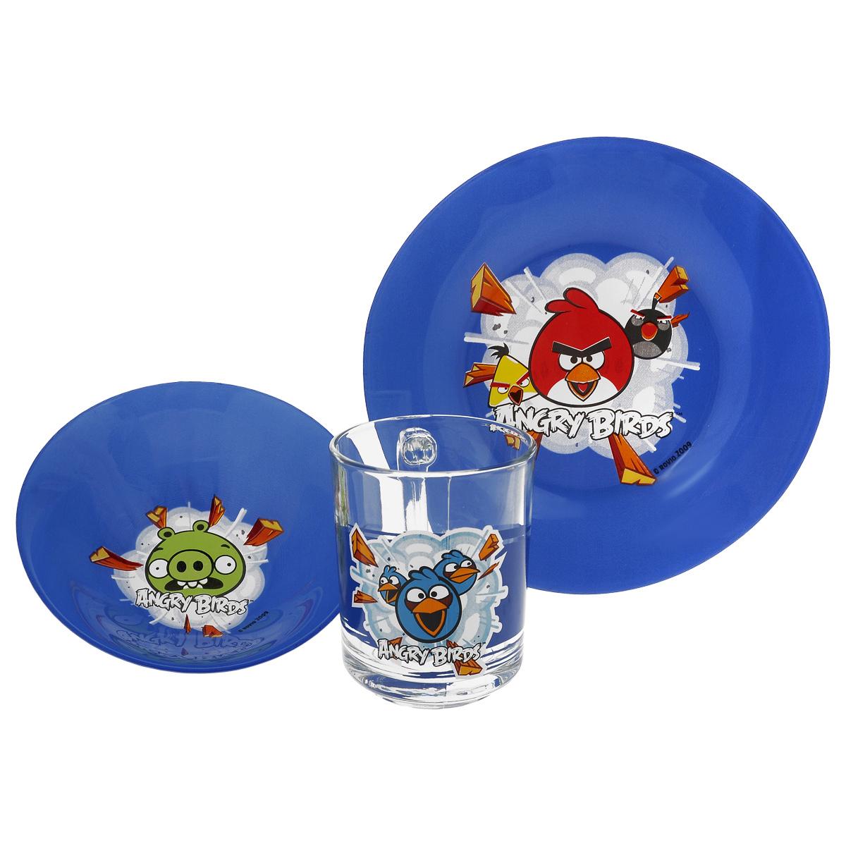Набор детской посуды Angry Birds, цвет: синий, 3 предметаКРС-290Набор детской посуды Angry Birds, выполненный из стекла, состоит из кружки, тарелки и салатника. Изделия оформлены изображением любимых героев популярного мультфильма Angry Birds. Материалы изделий нетоксичны и безопасны для детского здоровья. Детская посуда удобна и увлекательна для вашего малыша. Привычная еда станет более вкусной и приятной, если процесс кормления сопровождать игрой и сказками о любимых героях. Красочная посуда является залогом хорошего настроения и аппетита ваших детей. Можно мыть в посудомоечной машине. Диаметр тарелка: 19,5 см. Диаметр салатника: 14 см. Высота салатника: 4,5 см. Объем кружки: 250 мл. Диаметр кружки (по верхнему краю): 7 см. Высота кружки: 9,5 см.