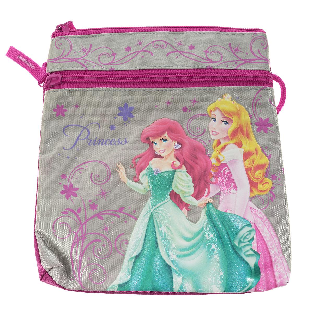 Сумка детская Princess, цвет: серый, розовый72523WDДетская сумка Princess выполнена из прочного полиэстера и оформлена термоаппликацией с изображением Ариэль и Авроры - очаровательных принцесс из мультфильмов Диснея. Сумочка содержит одно отделение и закрывается на застежку-молнию. На лицевой стороне расположен прорезной карман на застежке-молнии.Сумочка оснащена шнурком для переноски.Такая сумочка непременно порадует вашу малышку и позволит ей подчеркнуть свою индивидуальность.