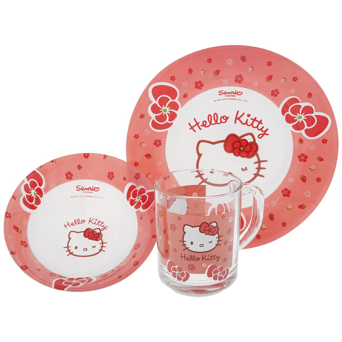 Набор детской посуды Hello Kitty, 3 предмета115010Набор детской посуды Hello Kitty, выполненный из стекла, состоит из кружки, тарелки и салатника. Изделия оформлены изображением героини популярного мультфильма Hello Kitty. Материалы изделий нетоксичены и безопасны для детского здоровья. Детская посуда удобна и увлекательна для вашего малыша. Привычная еда станет более вкусной и приятной, если процесс кормления сопровождать игрой и сказками о любимых героях. Красочная посуда является залогом хорошего настроения и аппетита ваших детей. Можно мыть в посудомоечной машине. Диаметр тарелка: 19,5 см. Диаметр салатника: 14 см. Высота салатника: 4,5 см. Объем кружки: 250 мл. Диаметр кружки (по верхнему краю): 7 см. Высота кружки: 9,5 см.