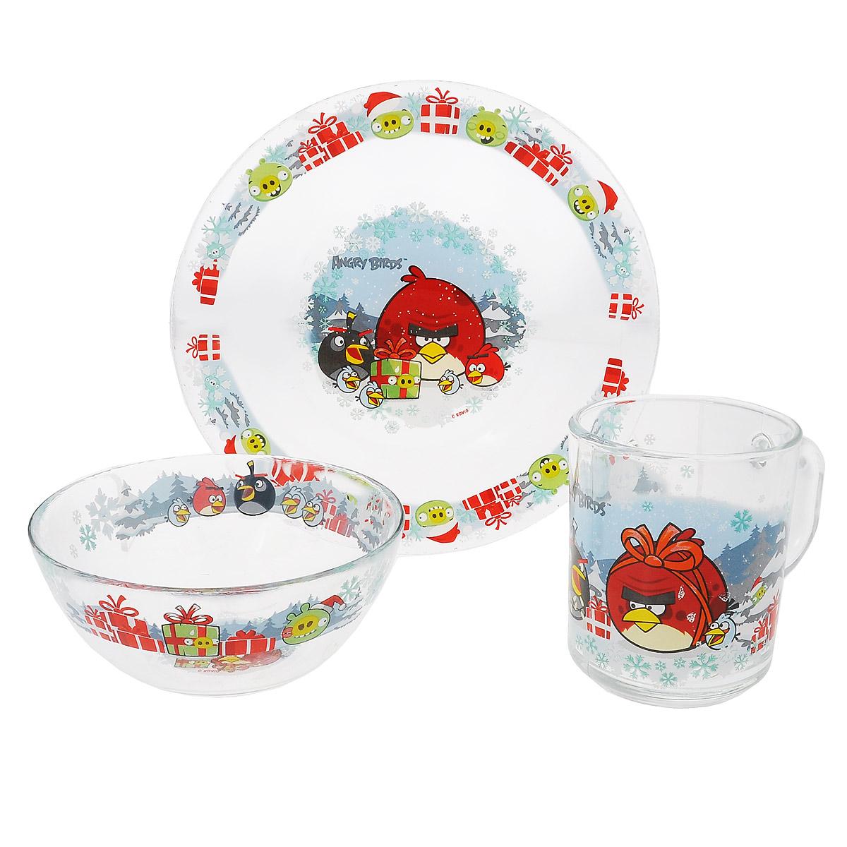 Набор детской посуды Angry Birds Зима, 3 предмета115510Набор детской посуды Angry Birds Зима, выполненный из прозрачного стекла, состоит из кружки, тарелки и салатника. Изделия оформлены изображением любимых героев популярного мультфильма Angry Birds. Материалы изделий нетоксичны и безопасны для детского здоровья. Детская посуда удобна и увлекательна для вашего малыша. Привычная еда станет более вкусной и приятной, если процесс кормления сопровождать игрой и сказками о любимых героях. Красочная посуда является залогом хорошего настроения и аппетита ваших детей. Можно мыть в посудомоечной машине. Диаметр тарелки: 19,5 см. Диаметр салатника: 12,5 см. Высота салатника: 5,5 см. Объем кружки: 250 мл. Диаметр кружки (по верхнему краю): 7 см. Высота кружки: 9 см.