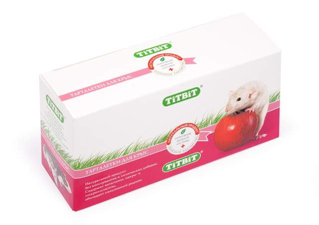 Лакомство для крыс Titbit, тарталетки с манго и клюквой, 8 шт1796Тарталетки представляют собой корзиночки из хрустящего пресного теста с лакомой и полезной для грызунов начинкой. Обогащают ежедневный рацион витаминами, макро – и микроэлементами. Продукт не содержит искусственных красителей и ароматизаторов. Как и во всех желто-оранжевых плодах, в манго, входящем в состав продукта, много каротиноидов. Кроме того мякоть манго богата витаминами груполипропиленовый пакеты В, органическими кислотами, пищевыми волокнами, железом и калием. Манго прекрасно усваивается организмом грызуна, стимулирует пищеварение, выводит шлаки. Клюква богата минеральными солями – калием, кальцием, магнием, фосфором, железом, а ее пектиновые вещества способствуют выведению из организма холестерина.Вкус: манко;клюкваСостав: Манго, клюква, морковь, просо, лёгкое говяжье, семена подсолнечника. Полезные вещества: сбалансированный витаминноминеральный комплекс.Условия хранения: Хранить в сухом и прохладном месте