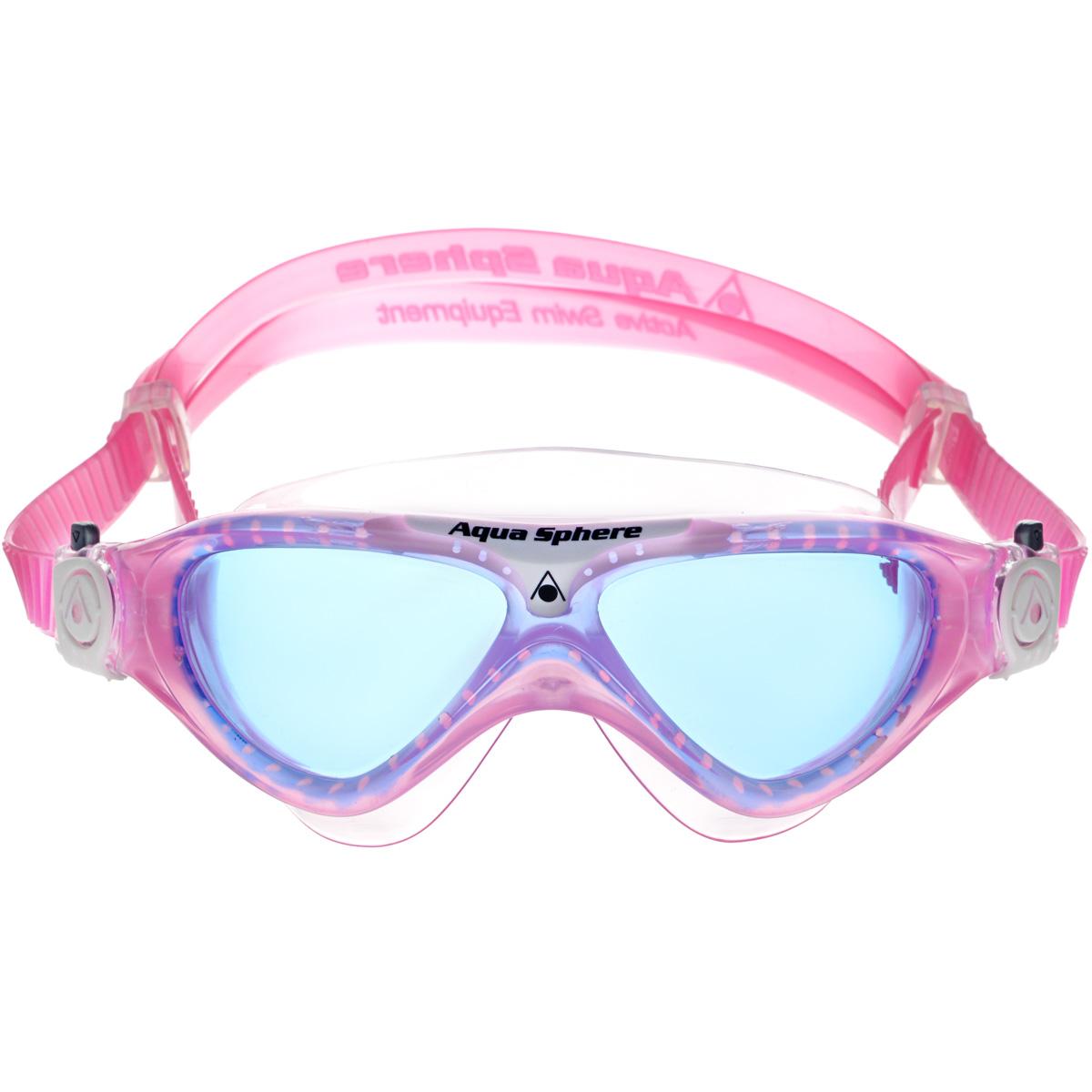 Очки для плавания Aqua Sphere Vista Junior, цвет: розовый, белый, синий очки для плавания indigo g200 205 антиф силикон 3 перег розовый