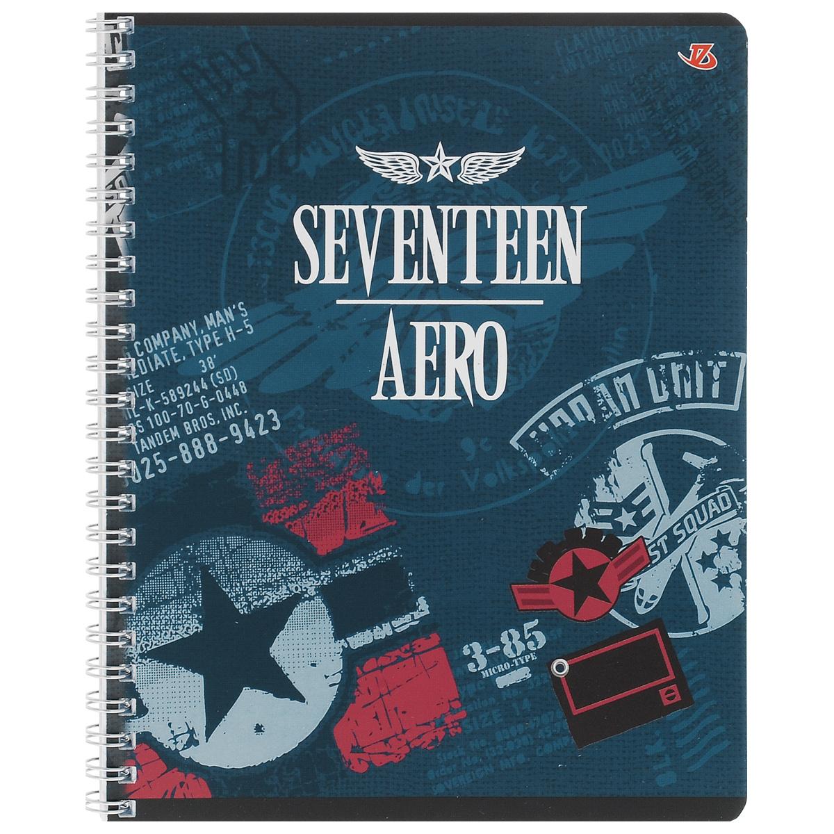 Тетрадь в клетку Seventeen Aero, цвет: синий, 80 листов. 6659/372523WDТетрадь Seventeen Aero подойдет для любых работ и студенту, и школьнику.Фактурная обложка тетради с элементами серебряного тиснения выполнена из мелованного картона с закругленными углами.Внутренний блок тетради соединен металлической пружиной и состоит из 80 листов высококачественной бумаги повышенной белизны.