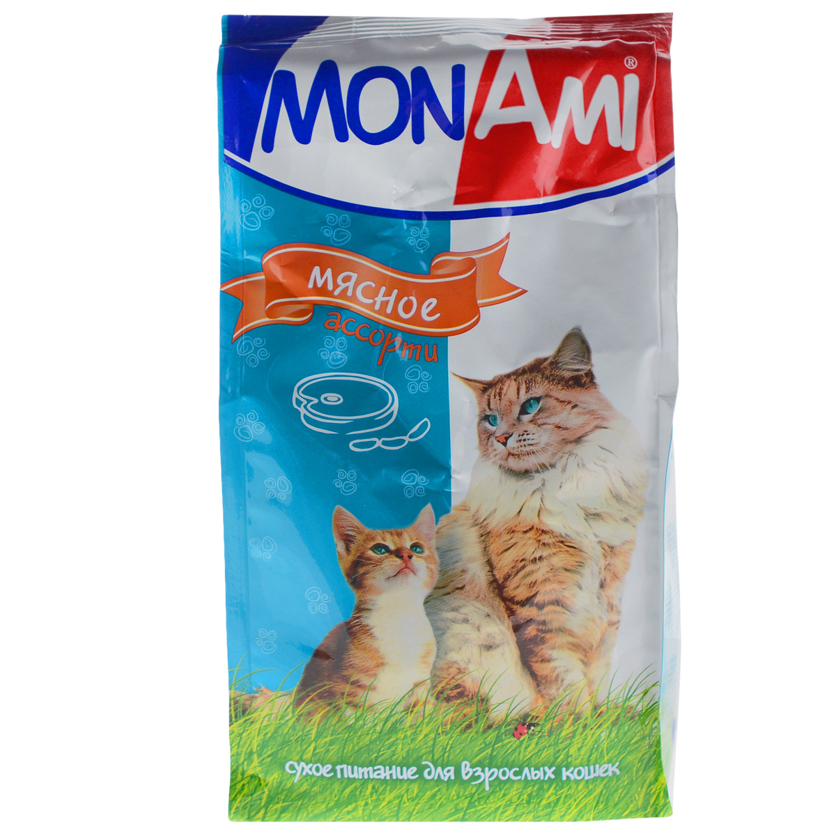 Корм сухой для кошек Mon Ami, мясное ассорти, 400 г0120710Сухой корм для кошек Mon Ami - это полноценное сбалансированное питание для кошек, разработанное с использованием современных технологий. Особенности рациона: Необходимое сочетание ингредиентов для достижения правильной усвояемости питательных веществ организмом. Источник линолевой кислоты и правильного уровня витаминов группы В благотворно влияют на кожу и шерсть. Таурин - для здоровья глаз и сердца. Состав: злаки (пшеница, рис), экстракт белка растительного происхождения, мясо и продукты животного происхождения (в т.ч. кролик), подсолнечное масло, минеральные добавки, гидролизованная печень, пульпа сахарной свеклы (жом), витамины, пивные дрожжи, таурин, антиоксидант. Анализ: сырой протеин 30%, сырой жир 10%, сырая зола 7%, сырая клетчатка 2,5%, влажность 10%, фосфор 0,9%, кальций 1,05%, витамин А 5000 МЕ/кг, витамин Д 500 МЕ/кг, витамин Е 30 мг/кг. Энергетическая ценность: 333 ккал/100 г. Товар сертифицирован.