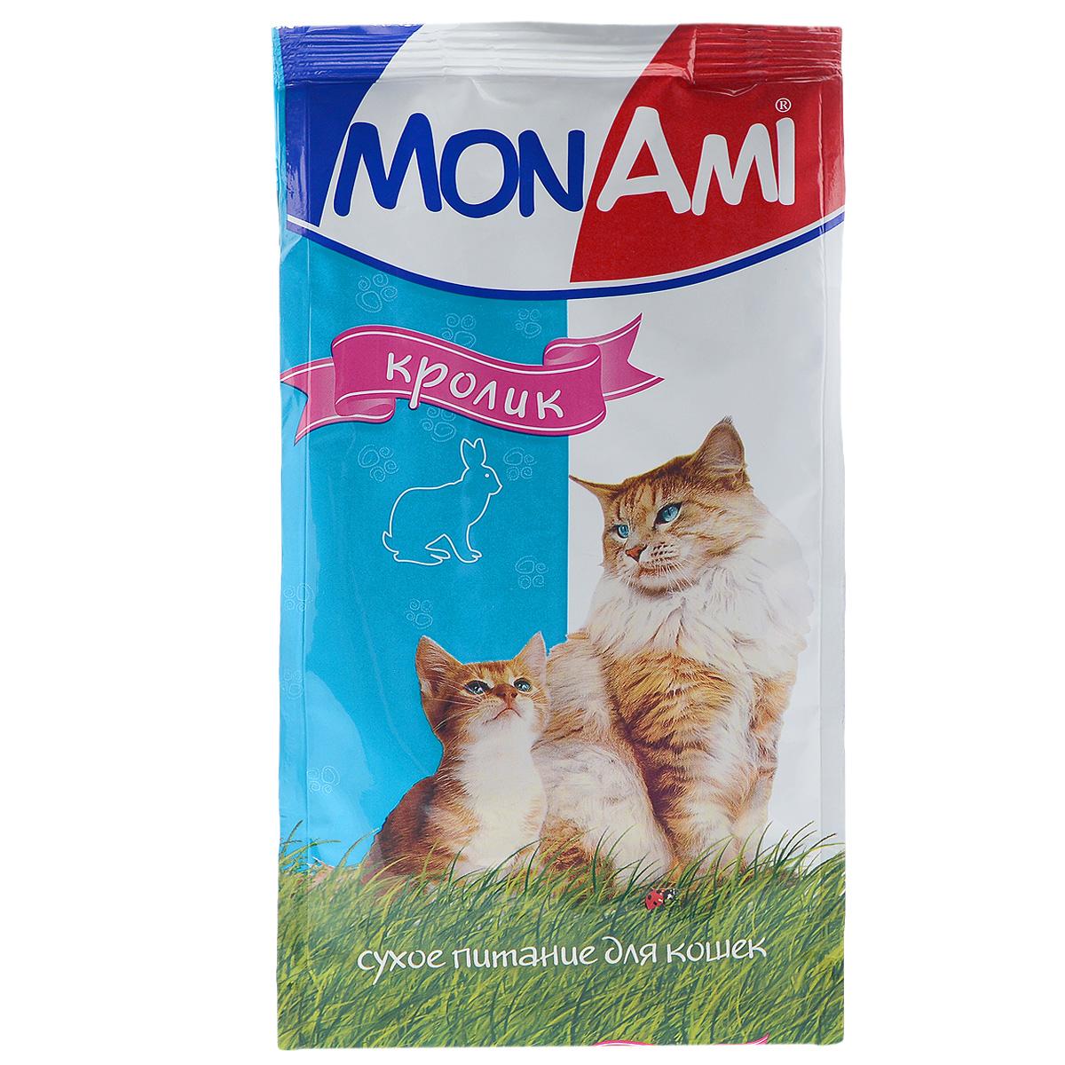 Корм сухой для кошек Mon Ami, с мясом кролика, 400 г0120710Сухой корм для кошек Mon Ami - это полноценное сбалансированное питание для кошек, разработанное с использованием современных технологий. Особенности рациона: Необходимое сочетание ингредиентов для достижения правильной усвояемости питательных веществ организмом. Источник линолевой кислоты и правильного уровня витаминов группы В благотворно влияют на кожу и шерсть. Таурин - для здоровья глаз и сердца. Состав: злаки (пшеница, рис), экстракт белка растительного происхождения, мясо и продукты животного происхождения (в т.ч. кролик), подсолнечное масло, минеральные добавки, гидролизованная печень, пульпа сахарной свеклы (жом), витамины, пивные дрожжи, таурин, антиоксидант. Анализ: сырой протеин 30%, сырой жир 10%, сырая зола 7%, сырая клетчатка 2,5%, влажность 10%, фосфор 0,9%, кальций 1,05%, витамин А 5000 МЕ/кг, витамин Д 500 МЕ/кг, витамин Е 30 мг/кг. Энергетическая ценность: 333 ккал/100 г. Товар сертифицирован.