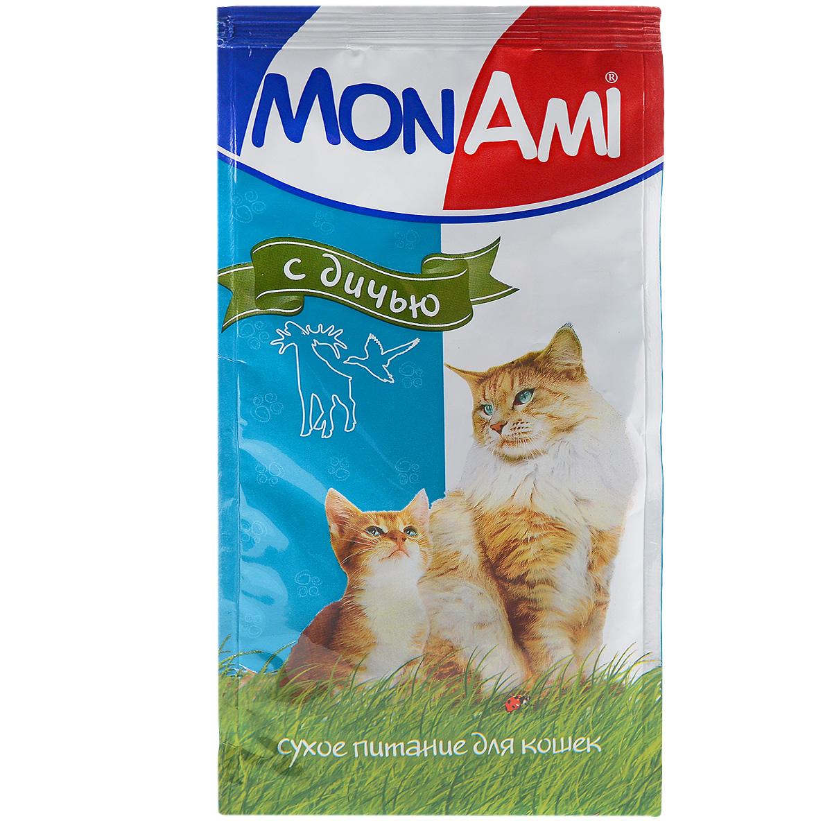 Корм сухой для кошек Mon Ami, с дичью, 400 г0120710Сухой корм для кошек Mon Ami - это полноценное сбалансированное питание для кошек, разработанное с использованием современных технологий. Особенности рациона: Необходимое сочетание ингредиентов для достижения правильной усвояемости питательных веществ организмом. Источник линолевой кислоты и правильного уровня витаминов группы В благотворно влияют на кожу и шерсть. Состав: злаки, экстракт белка растительного происхождения, мясо и мясопродукты (в т.ч. дичь), подсолнечное масло, минеральные добавки, пульпа сахарной свеклы (жом), витамины, пивные дрожжи, антиоксидант. Анализ: сырой протеин 30%, сырой жир 10%, сырая зола 7%, сырая клетчатка 2,5%, влажность 10%, фосфор 0,9%, кальций 1,05%, витамин А 5000 МЕ/кг, витамин Д 500 МЕ/кг, витамин Е 30 мг/кг. Энергетическая ценность: 333 ккал/100 г. Товар сертифицирован.