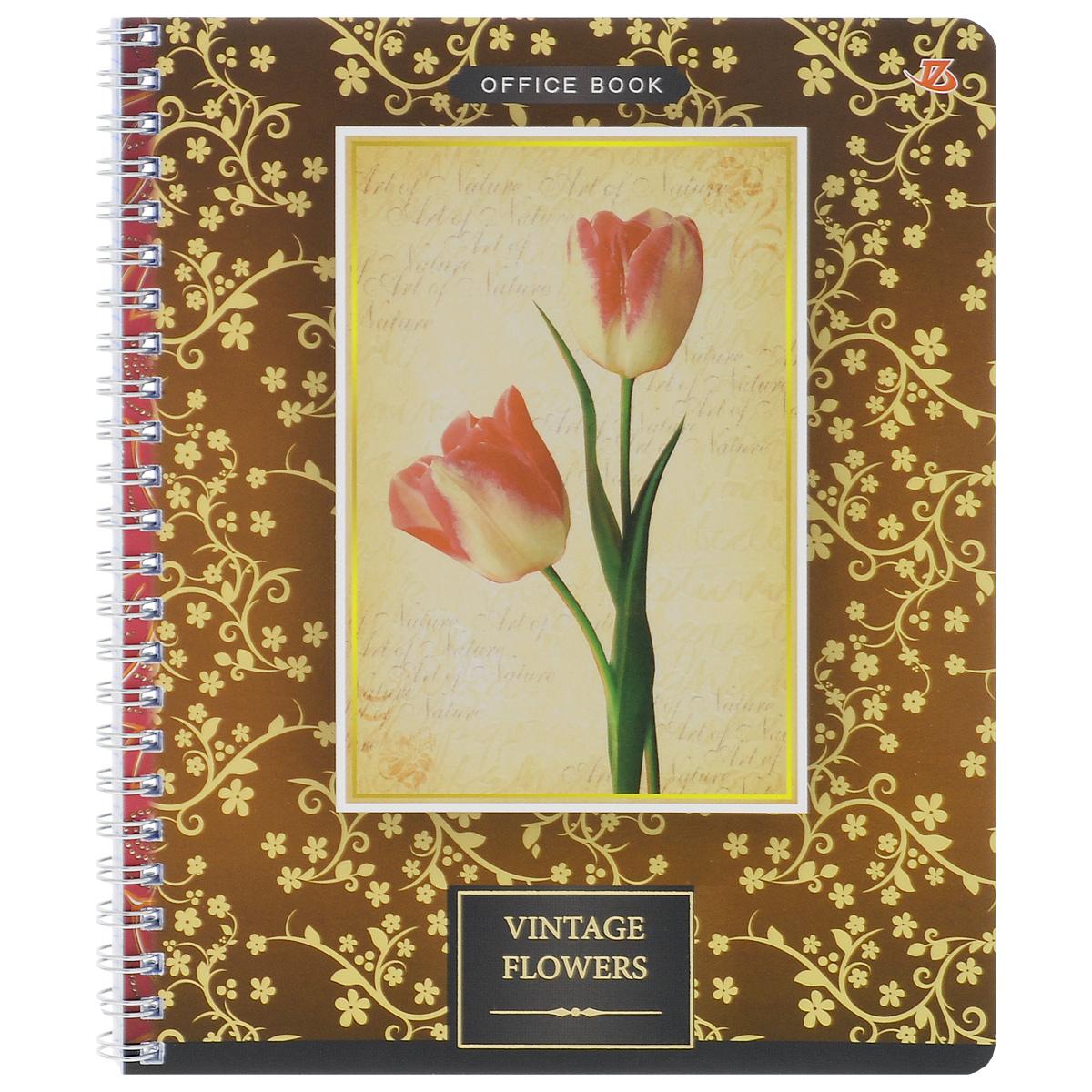 Тетрадь в клетку Vintage Flowers, цвет: бежевый, 80 листов. 6660/372523WDТетрадь Vintage Flowers подойдет для любых работ и студенту, и школьнику.Фактурная обложка тетради с элементами золотого тиснения выполнена из мелованного картона с закругленными углами.Внутренний блок тетради соединен металлической пружиной и состоит из 80 листов высококачественной бумаги повышенной белизны.