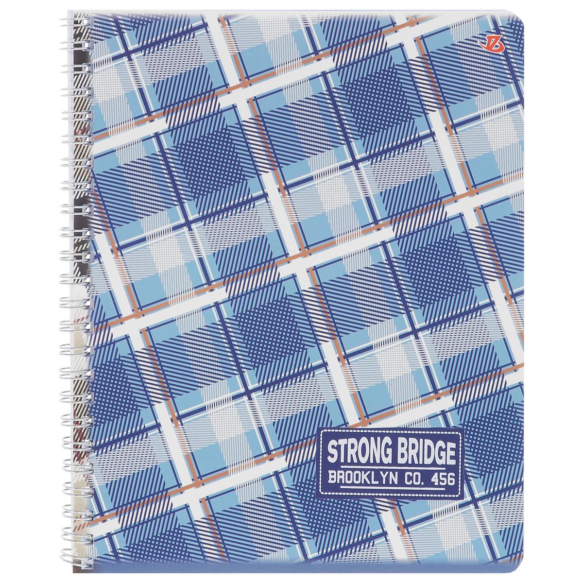 Тетрадь в клетку Strong Bridge, цвет: синий, голубой, бежевый, 60 листов. 6658/396Т5B2_зеленыйТетрадь Strong Bridge подойдет для любых работ и студенту, и школьнику.Фактурная обложка тетради с элементами серебряного тиснения выполнена из мелованного картона с закругленными углами.Внутренний блок тетради соединен металлической пружиной и состоит из 60 листов высококачественной бумаги повышенной белизны.