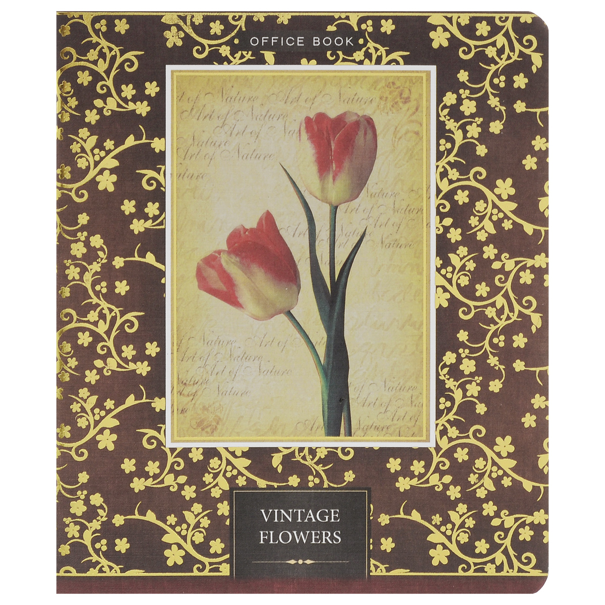 Тетрадь Vintage Flowers Два тюльпана отлично подходит для различных работ.  Обложка тетради с элементами золотого тиснения выполнена из матового картона с закругленными углами.  Внутренний блок тетради соединен металлическими скрепками и состоит из 60 листов высококачественной бумаги повышенной белизны. Стандартная линовка в клетку дополнена полями, совпадающими с лицевой и оборотной стороны листа. Первая страничка содержит поля для заполнения личных данных.