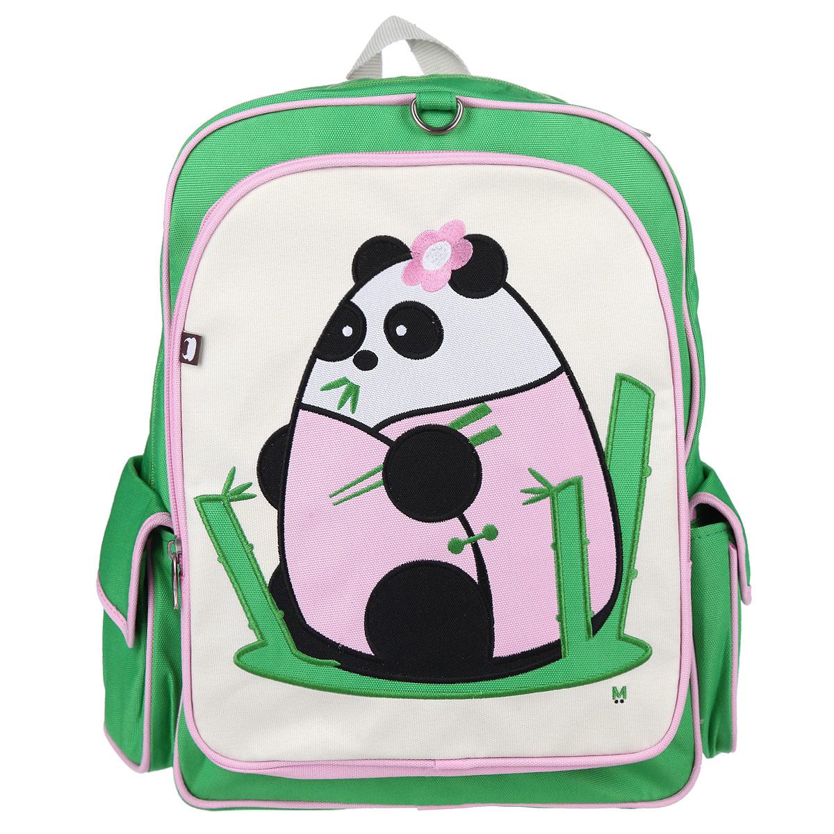 Рюкзак Beatrix Fei-Fei, цвет: салатовый, розовый, молочный72523WDРюкзак Beatrix Fei-Fei обязательно привлечет внимание вашего ребенка.Выполнен из прочного и высококачественного материала салатового, розового и молочного цветов и оформлен аппликацией с изображением панды. Рюкзак состоит из вместительного отделения, закрывающегося на застежку-молнию с двумя бегунками. Бегунки застежки дополнены металлическими держателями. Внутри отделения находится нашивной карман на застежке-молнии. На задней стенке рюкзака имеется нашивка, на которой можно указать данные владельца. Лицевая сторона оснащена накладным карманом на молнии. Рюкзак имеет два накладных боковых кармана на липучке. Мягкие широкие лямки позволяют легко и быстро отрегулировать рюкзак в соответствии с ростом. Рюкзак оснащен удобной текстильной ручкой для переноски в руке.Этот рюкзак можно использовать для повседневных прогулок, отдыха и спорта, а также как элемент вашего имиджа.