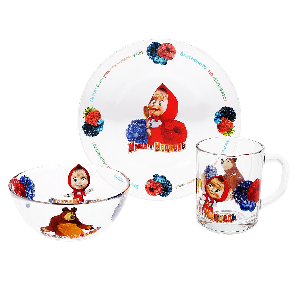 Набор детской посуды Маша и Медведь Лето, 3 предмета9559001Набор детской посуды Маша и Медведь Лето, выполненный из прозрачного стекла, состоит из кружки, тарелки и салатника. Материалы изделий нетоксичны и безопасны для детского здоровья. Изделия оформлены изображением любимых героев популярного мультфильма Маша и Медведь. Детская посуда удобна и увлекательна для вашего малыша. Привычная еда станет более вкусной и приятной, если процесс кормления сопровождать игрой и сказками о любимых героях. Красочная посуда является залогом хорошего настроения и аппетита ваших детей. Пригодна для мытья в посудомоечной машине. Диаметр тарелка: 19,5 см. Диаметр салатника: 12,5 см. Высота салатника: 5,5 см. Объем кружки: 250 мл. Диаметр кружки (по верхнему краю): 7 см. Высота кружки: 9 см.
