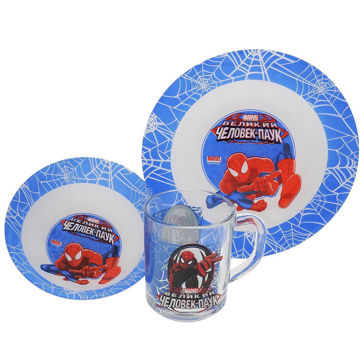 Набор детской посуды Marvel Spider-Man, 3 предмета115510Набор детской посуды Marvel Spider-Man, выполненный из стекла, состоит из кружки, тарелки и салатника. Изделия оформлены изображением героz популярного мультфильма Spider-Man. Материалы изделий нетоксичены и безопасны для детского здоровья. Детская посуда удобна и увлекательна для вашего малыша. Привычная еда станет более вкусной и приятной, если процесс кормления сопровождать игрой и сказками о любимых героях. Красочная посуда является залогом хорошего настроения и аппетита ваших детей. Можно мыть в посудомоечной машине. Диаметр тарелка: 19,5 см. Диаметр салатника: 14 см. Высота салатника: 4,5 см. Объем кружки: 250 мл. Диаметр кружки (по верхнему краю): 7 см. Высота кружки: 9 см.