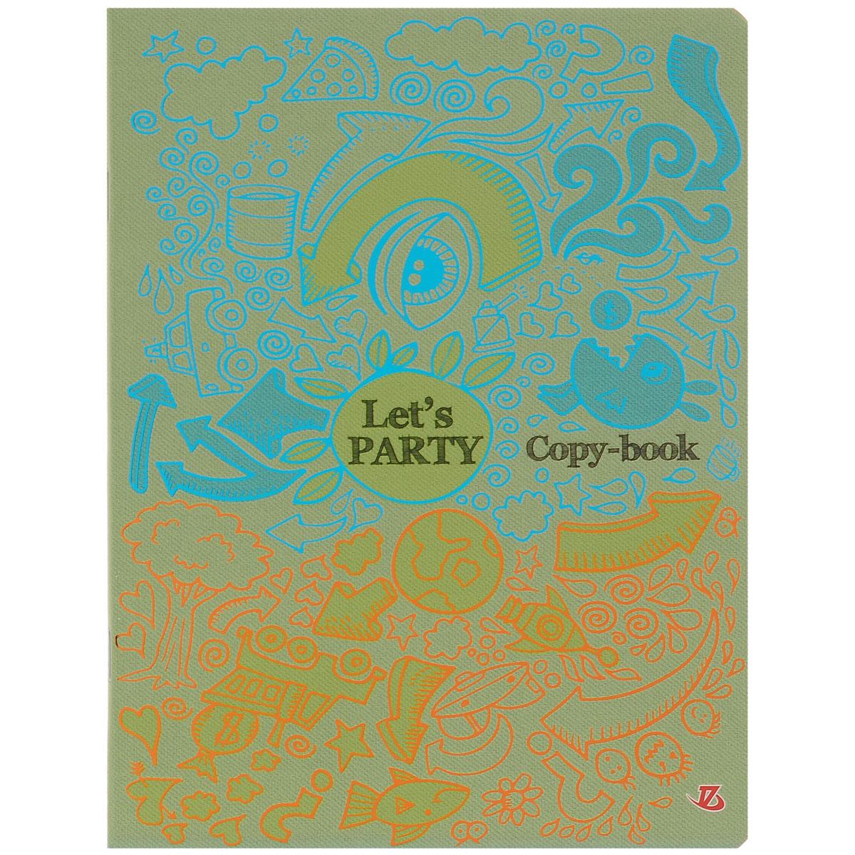 Тетрадь Lets party, 48 листов, формат А5, цвет: голубой, оранжевый72523WDТетрадь в клетку Lets party подойдет как студенту, так и школьнику. Обложка тетради выполнена из картона и украшена ярким изображением с медным и бирюзовым теснением. Внутренний блок состоит из 48 листов офсетной бумаги, способ крепления - скрепка. Линовка листов стандартная - в клетку. Внутри содержатся страничка для заполнения личных данных.
