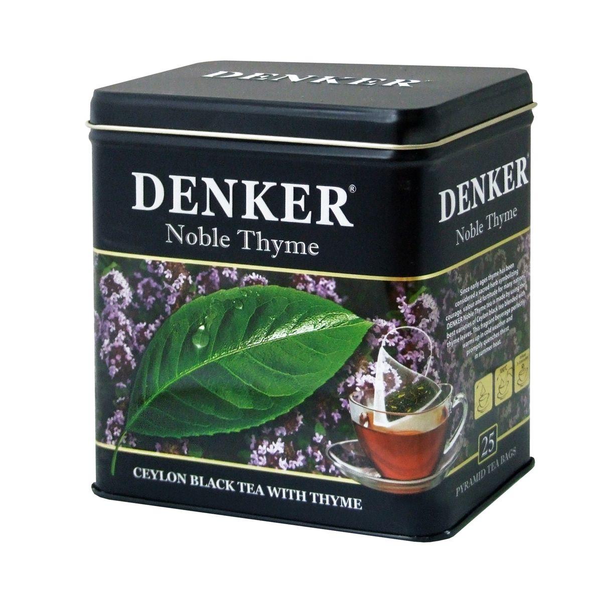 Denker Noble Thyme черный чай в пирамидках, 25 шт0120710Чабрец, хорошо известный также под названием тимьян, с древности почитался как божественная трава и у многих народов с древних пор был символом отваги, мужества и силы духа. Чай Denker Noble Thyme производится из лучших сортов черного цейлонского чая с добавлением листьев чабреца. Этот ароматный напиток отлично согревает в ненастную погоду и быстро утоляет жажду в летний зной.