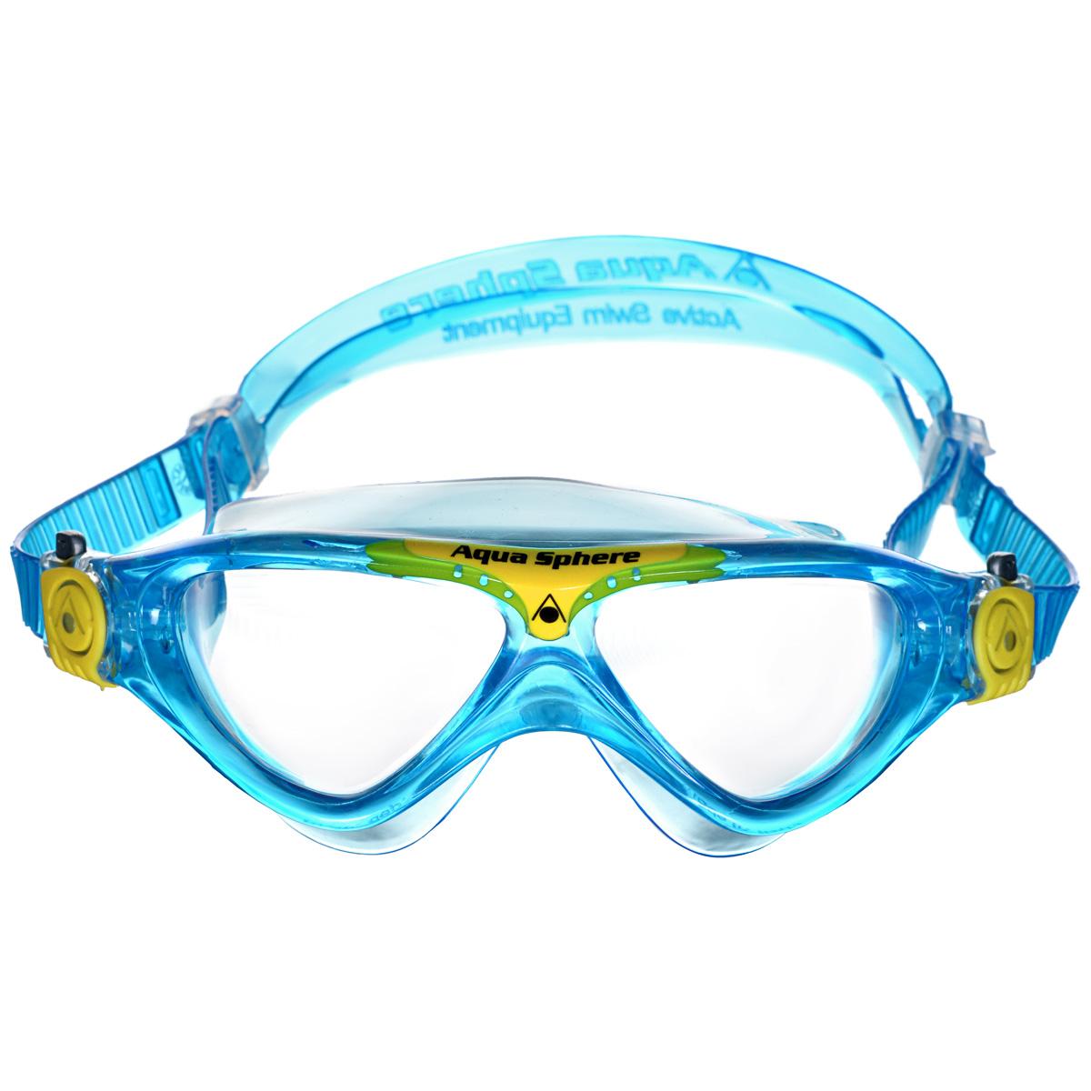 Очки для плавания Aqua Sphere Vista Junior, цвет: аквамарин, желтыйJ504N-9093Модные и стильные очки для плавания Aqua Sphere Vista Junior идеально подходят для плавания в бассейне или открытой воде. Оснащены линзами с антизапотевающим покрытием, которые устойчивы к появлению царапин. Мягкий комфортный обтюратор плотно прилегает к лицу.Запатентованные изогнутые линзы дают прекрасный обзор на 180° - без искажений. Очки дают 100% защиту от ультрафиолетового излучения спектра А и спектра В.Материал: плексисол, силикон.