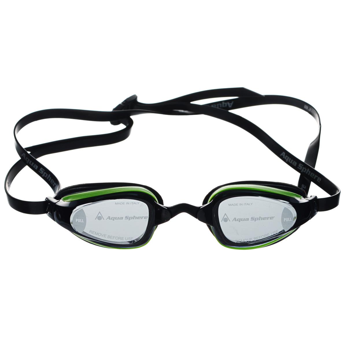 Очки для плавания Aqua Sphere K180+, цвет: зеленый, черный527Очки для плавания Aqua Sphere K180+ спроектированы специально для тренировок на открытой воде и соревнований. Плотное прилегание к лицу обеспечивает хорошую обтекаемость и скорость движения. Благодаря сменным перемычкам можно менять расстояние между линзами. Запатентованные изогнутые линзы дают прекрасный обзор на 180° - без искажений. Очки дают 100% защиту от ультрафиолетового излучения.В комплекте 3 сменных перемычки.