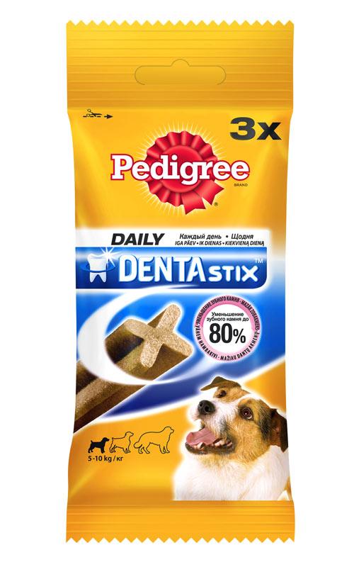 Лакомство Pedigree Denta Stix для собак мелких пород, 45 г0120710Лакомство Pedigree Denta Stix подходит для собак мелких пород и щенков старше 4-х месяцев. Для собак мелких пород, например, такса - одна палочка в день. Предназначено для собак весом 5-10 кг. Регулярное употребление помогает уменьшить образование зубного камня и обеспечивает уход за зубами. В упаковке - 3 палочки. Состав: злаки, продукты растительного происхождения, мясо и субпродукты, минералы, белковые растительные экстракты, масла и жиры, ароматизатор натуральный куриный (43,6 мг). Пищевая ценность (100 г): белки - 9,5 г; жиры - 2,6 г; зола - 6,1 г; клетчатка - 2,4 г; влага - 8 г; триполифосфат натрия - 2,4 г; сульфат цинка - 104,5 мг. Энергетическая ценность (100 г): 324 ккал. Товар сертифицирован.
