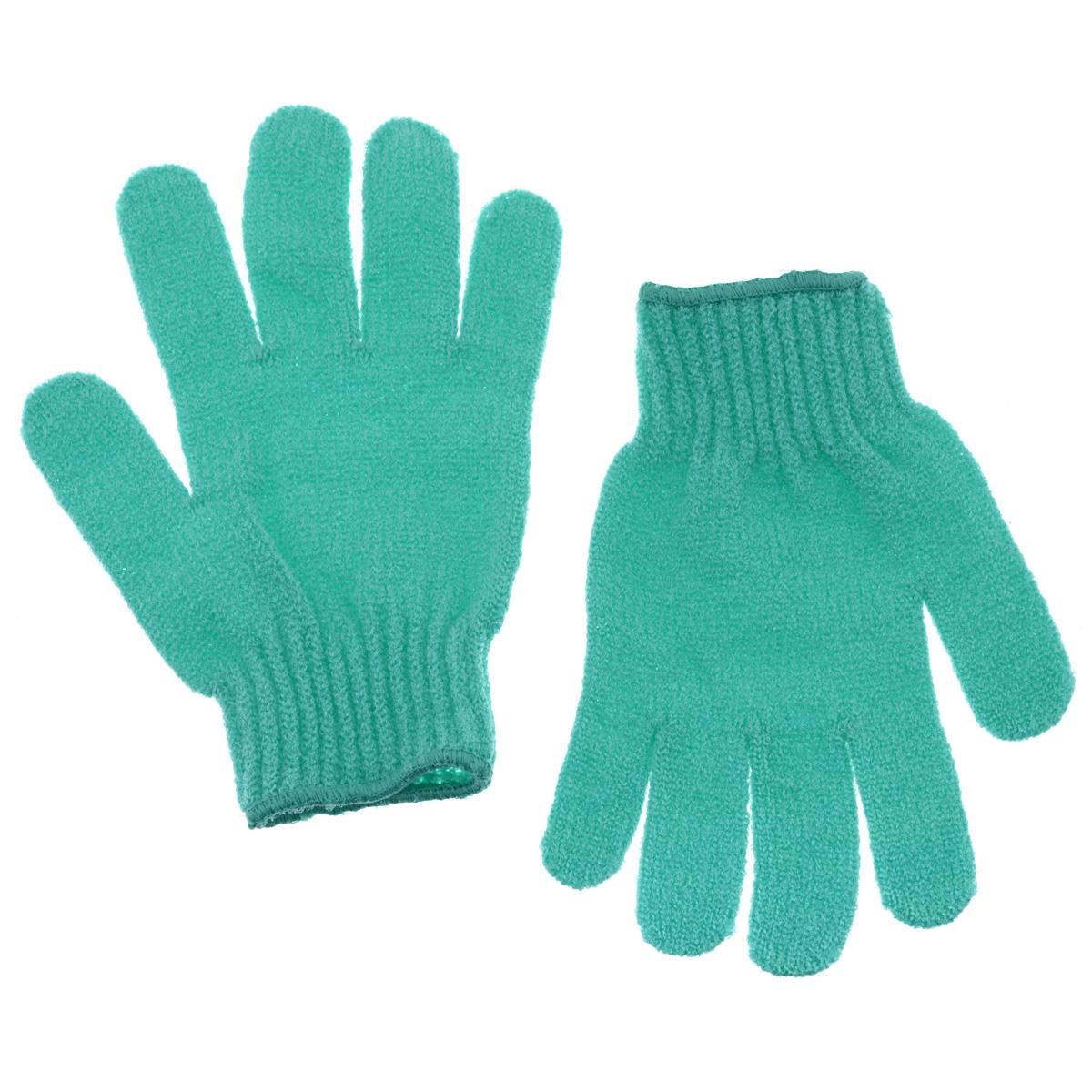 Riffi Перчатки для пилинга, цвет: бирюзовый35004_зеленыйЭластичные безразмерные перчатки Riffi обладают активным антицеллюлитным эффектом и отличным пилинговым действием, тонизируя, массируя и эффективно очищая вашу кожу. Riffi освобождает кожу от отмерших клеток, стимулирует регенерацию. Эффективно предупреждают образование целлюлита и обеспечивают омолаживающий эффект. Кожа становится гладкой, упругой и лучше готовой к принятию косметических средств. Интенсивный и пощипывающе свежий массаж тела с применением Riffi стимулирует кровообращение, активирует кровоснабжение, способствует обмену веществ. В комплекте 1 пара перчаток. Характеристики:Материал: 100% полиакрил. Размер перчатки (в нерастянутом виде): 17,5 см x 12,5 см. Артикул:615.