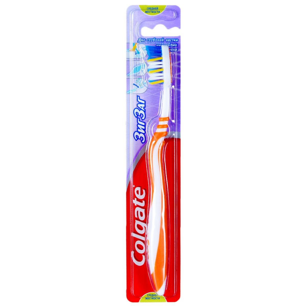 Colgate Зубная щетка Зиг-Заг, средней жесткости, цвет: оранжевыйFVN50537/FCN21278_оранжевыйColgate Зиг-Заг - зубная щетка средней жесткости. Перекрещивающиеся щетинки позволяют проникать щетке в межзубные пространства, а также легко массируют десна. Мягкая подушечка для чистки языка, помогает удалять бактерии, вызывающие неприятный запах изо рта. Гибкая прорезиненная рифленая ручка не скользит в ладони, амортизирует давление руки на нежную поверхность десен.Материал щетки: пластикТовар сертифицирован.