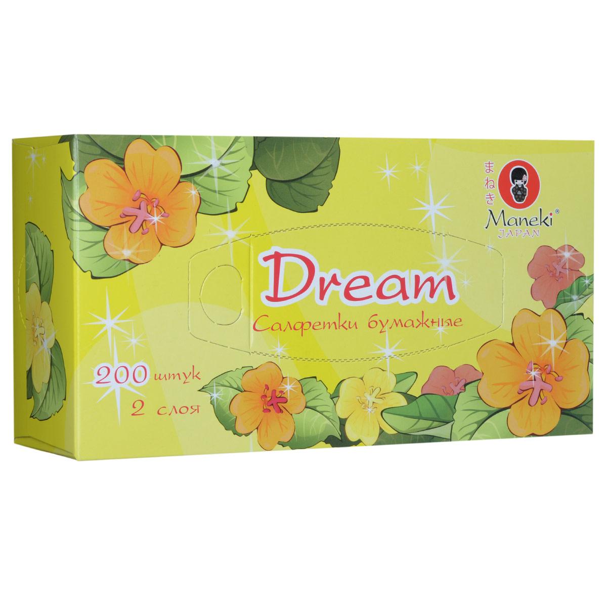 Maneki Салфетки бумажные Dream, двухслойные, цвет: желтый, 200 штFT135Двухслойные бумажные салфетки Maneki Dream, выполненные из натуральной экологически чистой целлюлозы, подарят превосходный комфорт и ощущение чистоты и свежести. Салфетки упакованы в коробку, поэтому их удобно использовать дома или взять с собой в офис или машину.Не содержат хлор.