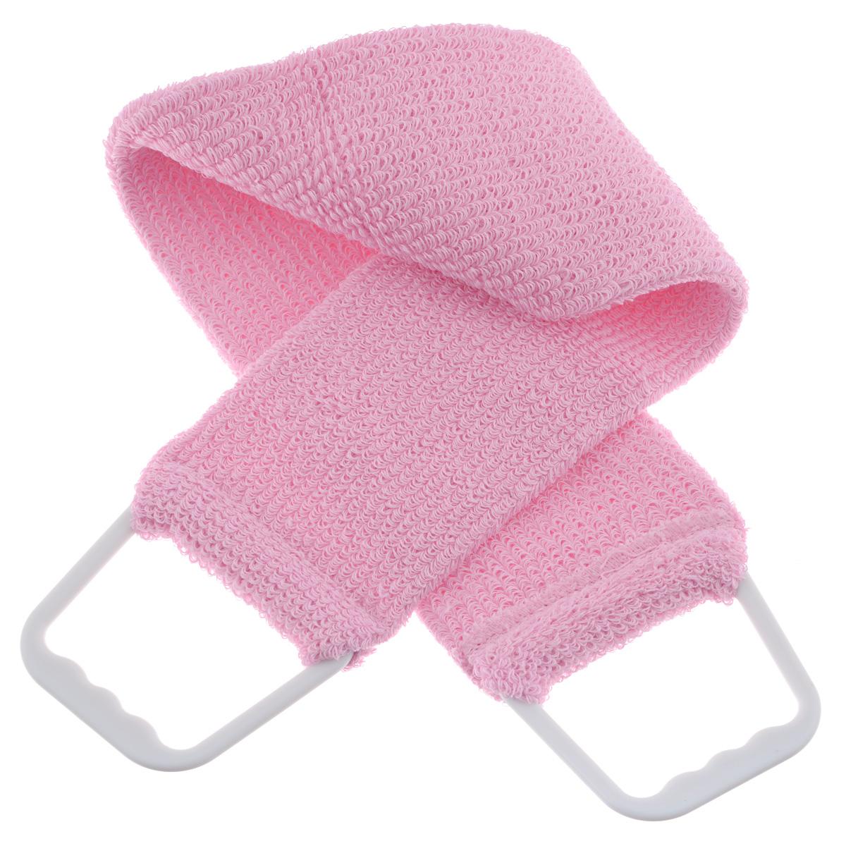 Мочалка 103, цвет: розовый5010777139655Мочалка-пояс Riffi используется для мытья тела, обладает активным пилинговым действием, тонизируя, массируя и эффективно очищая вашу кожу. Хлопковая основа придает мочалке высокие моющие свойства, а примесь жестких синтетических волокон усиливает ее массажное воздействие на кожу. Для удобства применения пояс снабжен двумя пластиковыми ручками. Благодаря отшелушивающему эффекту мочалки-пояса, кожа освобождается от отмерших клеток, становится гладкой, упругой и свежей. Массаж тела с применением Riffi стимулирует кровообращение, активирует кровоснабжение, способствует обмену веществ, что в свою очередь позволяет себя чувствовать бодрым и отдохнувшим после принятия душа или ванны. Riffi регенерирует кожу, делает ее приятно нежной, мягкой и лучше готовой к принятию косметических средств. Приносит приятное расслабление всему организму. Борется со спазмами и болями в мышцах, предупреждает образование целлюлита и обеспечивает омолаживающий эффект. Моет легко и энергично. Быстро сохнет. Гипоаллергенная.