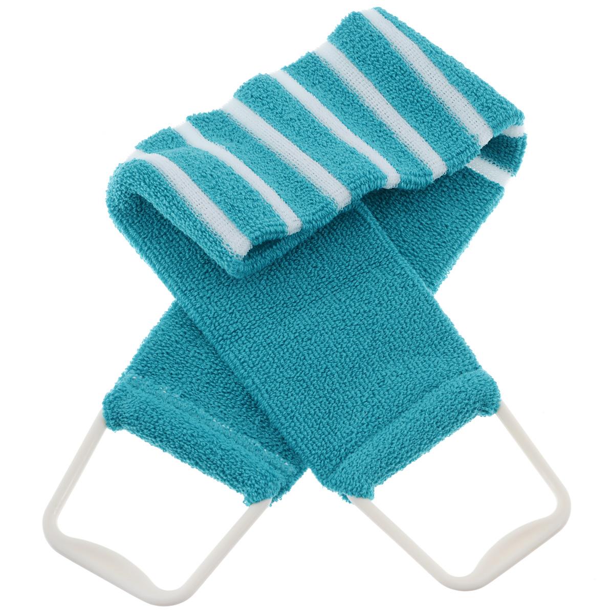 Мочалка 426, цвет: бирюзовый5010777139655Мочалка-пояс Riffi применяется для мытья тела, обладает активным пилинговым действием, тонизируя, массируя и эффективно очищая вашу кожу. Мягкая хлопковая мочалка-пояс хорошо намыливает тело, а ее цветные полоски из жесткой полиэтиленовой махры эффективно удаляют отмершие чешуйки кожи, производя одновременно с пилингом и легкий массаж. Для удобства применения пояс снабжен двумя пластиковыми ручками. Благодаря отшелушивающему эффекту мочалки-пояса, кожа освобождается от отмерших клеток, становится гладкой, упругой и свежей. Интенсивный и пощипывающе свежий массаж тела с применением Riffi стимулирует кровообращение, активирует кровоснабжение, способствует обмену веществ, что в свою очередь позволяет себя чувствовать бодрым и отдохнувшим после принятия душа или ванны. Riffi регенерирует кожу, делает ее приятно нежной, мягкой и лучше готовой к принятию косметических средств. Приносит приятное расслабление всему организму. Борется со спазмами и болями в мышцах, предупреждает образование целлюлита и обеспечивает омолаживающий эффект. Гипоаллергенная.