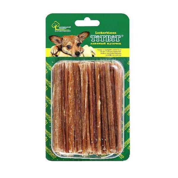 Лакомство для собак Titbit, говяжьи кишки, 40 г3701Лакомство для собак Titbit - это легкоусвояемое лакомство, богатое витаминами и ферментами микрофлоры кишечника крупного рогатого скота. Имеет большую энергетическую ценность из-за повышенного содержания жира. Богаты перевариваемыми протеинами, которые содержат все незаменимые аминокислоты и потому усваиваются на 90-95%. Содержит минеральные вещества в большем количестве, чем все остальные продукты (в том числе кальций, магний и фосфор), жирорастворимые витамины, а также водорастворимые витамины. Очищает зубы у мелких пород собак, продукт полезен для стимуляции пищеварения. Состав: высушенные говяжьи кишки.Товар сертифицирован.